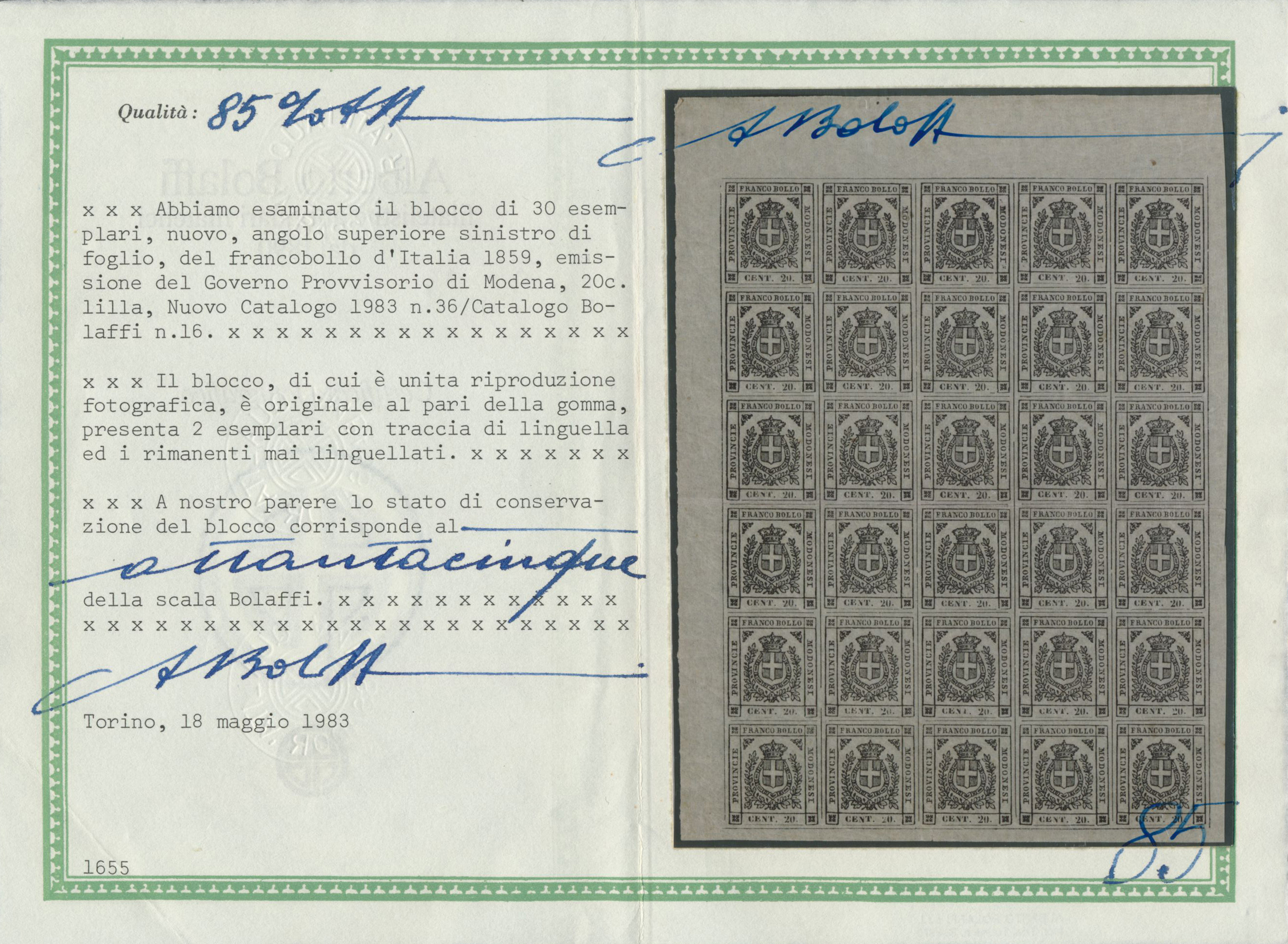Lot 16926 - Italien - Altitalienische Staaten: Modena  -  Auktionshaus Christoph Gärtner GmbH & Co. KG Single lots Philately Overseas & Europe. Auction #39 Day 4