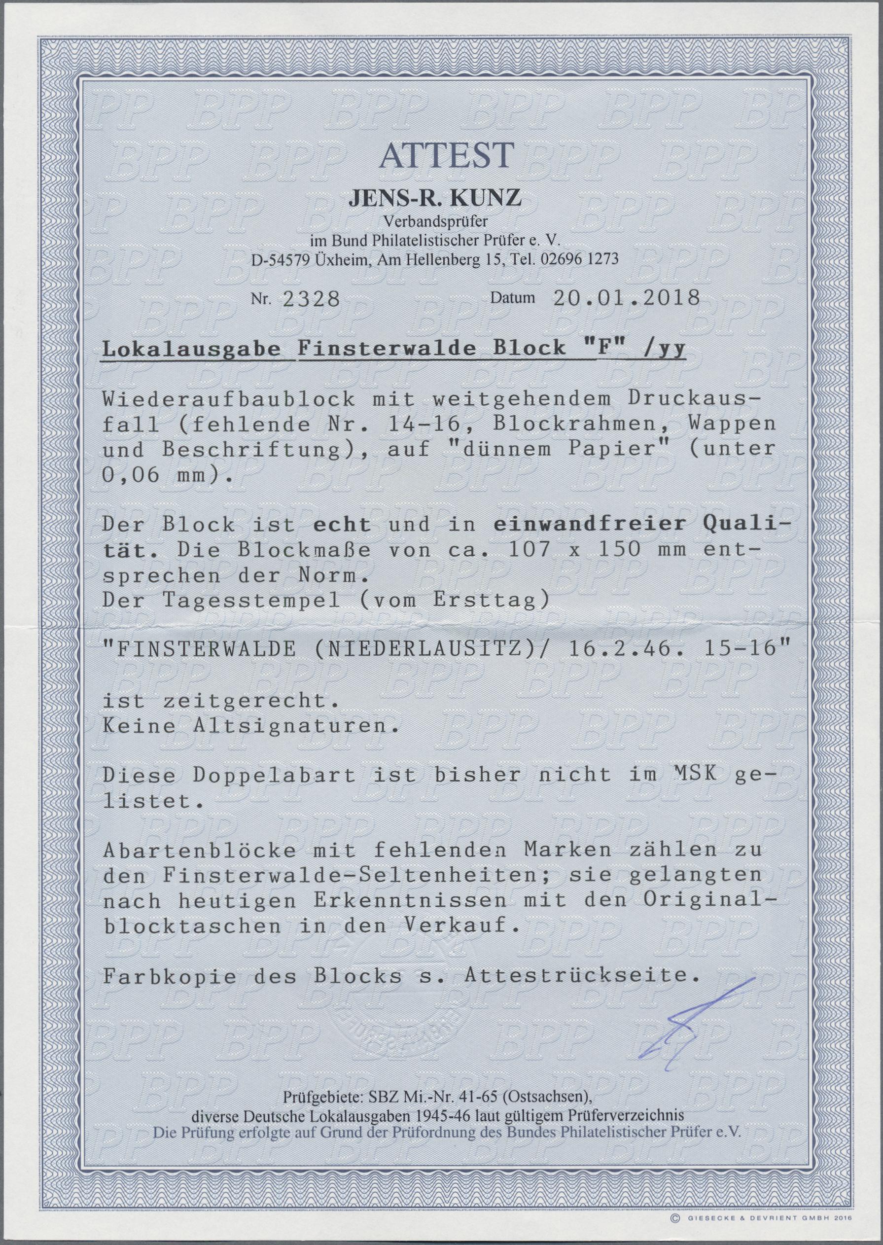 Lot 00836 - deutsche lokalausgaben ab 1945  -  Auktionshaus Christoph Gärtner GmbH & Co. KG 50th Auction Anniversary Auction - Day 8