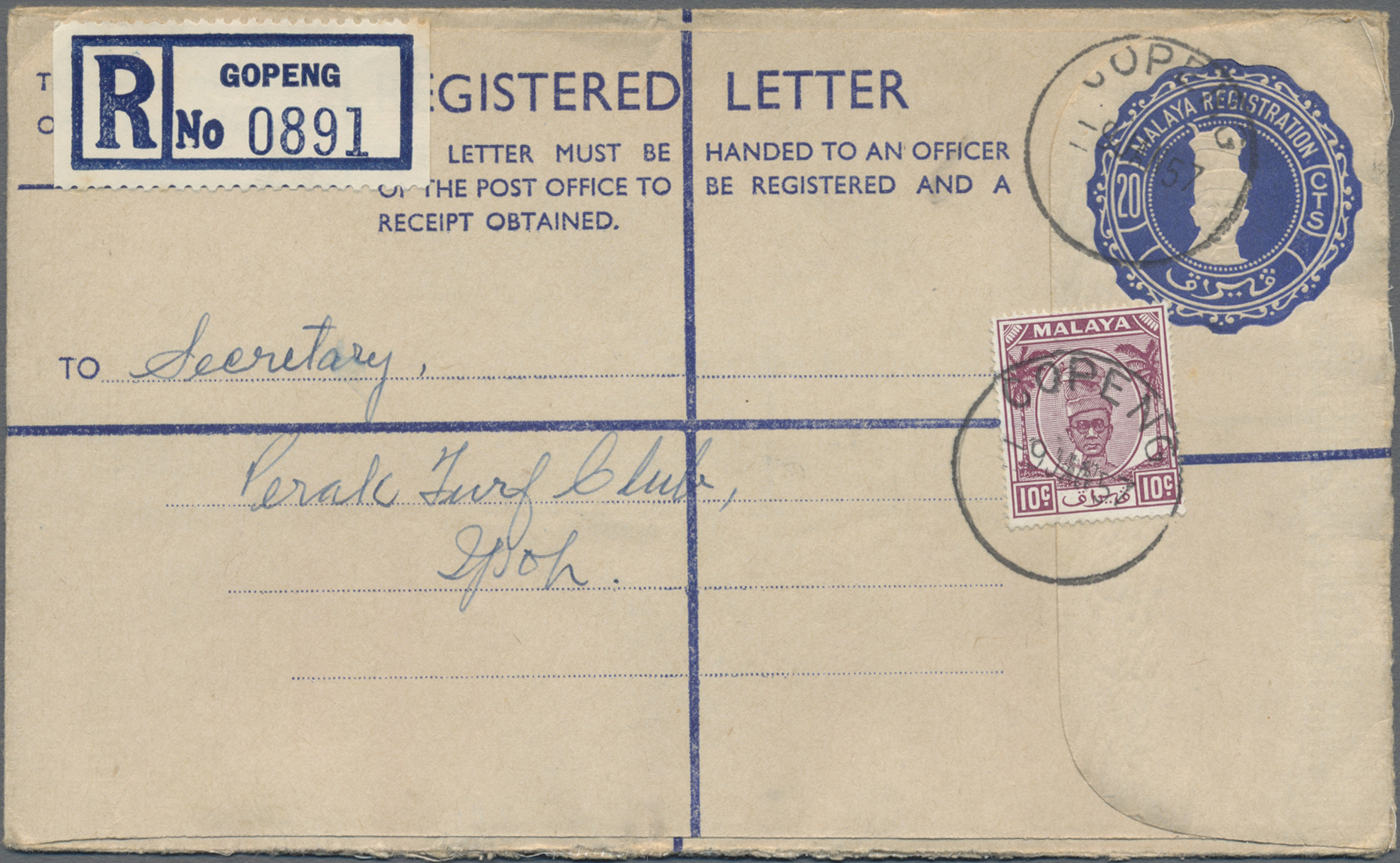 Lot 14019 - Malaiische Staaten - Perak  -  Auktionshaus Christoph Gärtner GmbH & Co. KG Sale #48 collections Overseas  Airmail / Ship mail & Thematics
