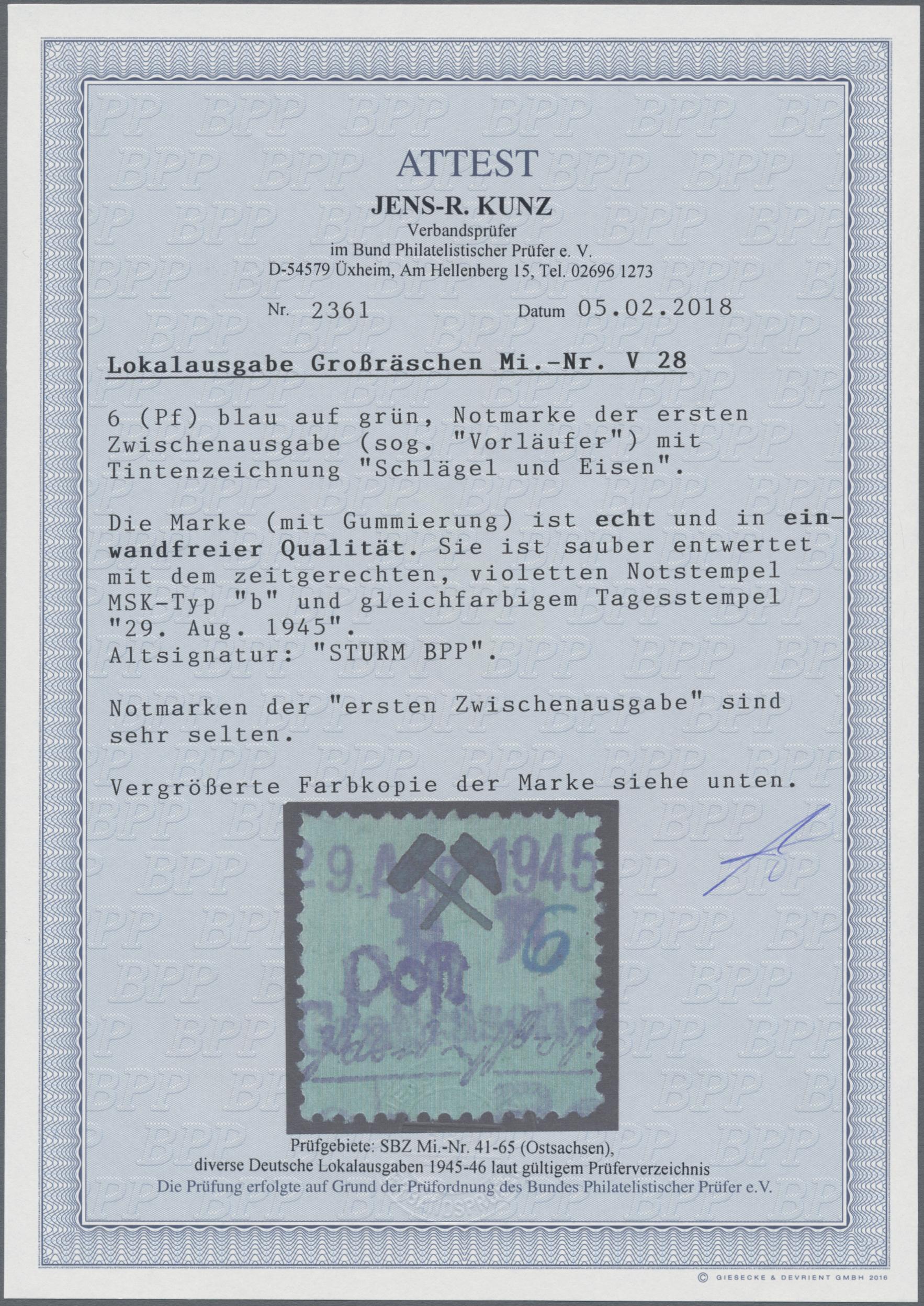 Lot 12524 - Deutsche Lokalausgaben ab 1945 - Großräschen  -  Auktionshaus Christoph Gärtner GmbH & Co. KG 50th Auction Anniversary Auction - Day 4
