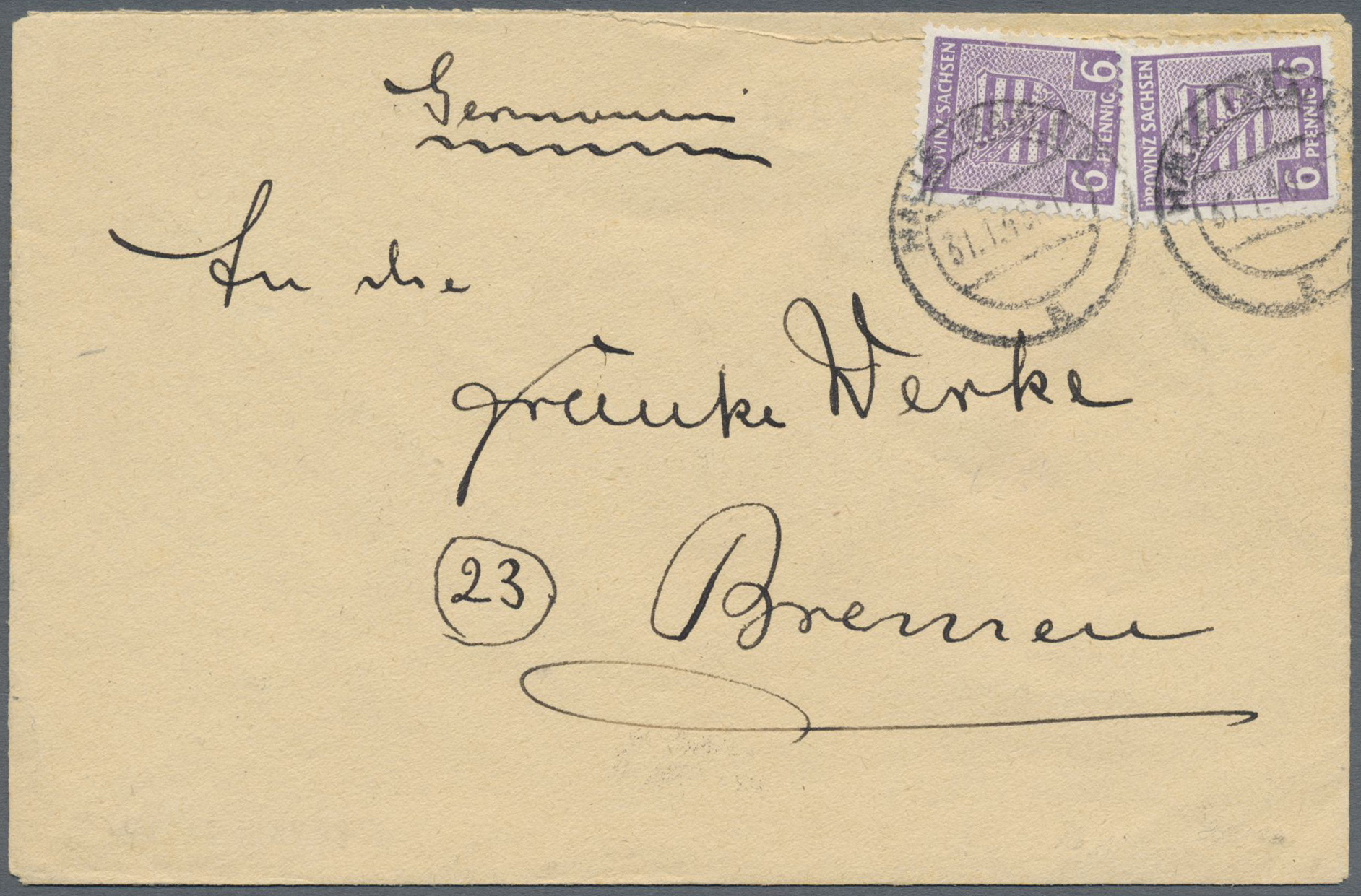 Lot 24133 - Sowjetische Zone - Provinz Sachsen  -  Auktionshaus Christoph Gärtner GmbH & Co. KG Single lots Germany + Picture Postcards. Auction #39 Day 5