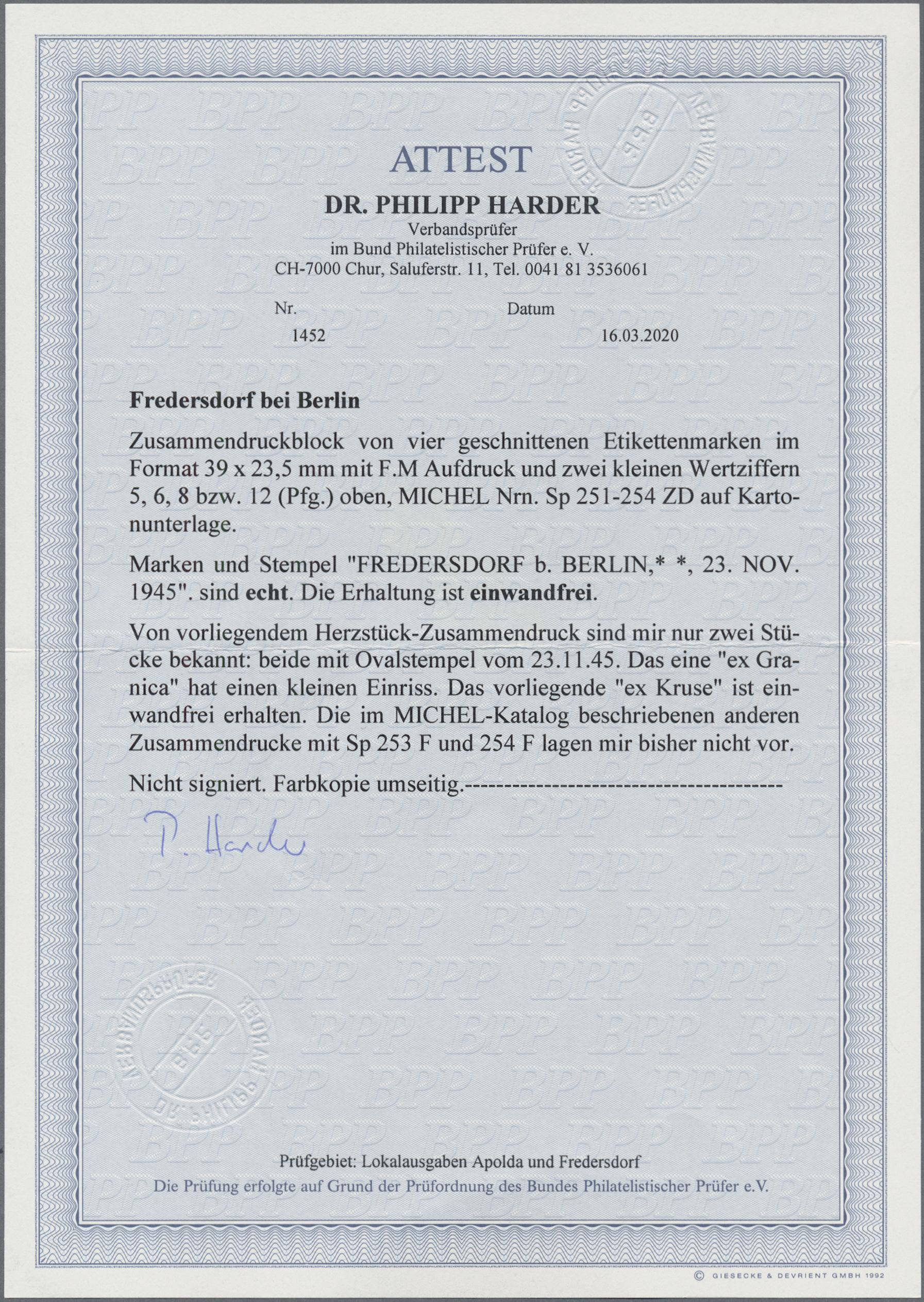 Lot 12518 - Deutsche Lokalausgaben ab 1945 - Fredersdorf  -  Auktionshaus Christoph Gärtner GmbH & Co. KG 50th Auction Anniversary Auction - Day 4