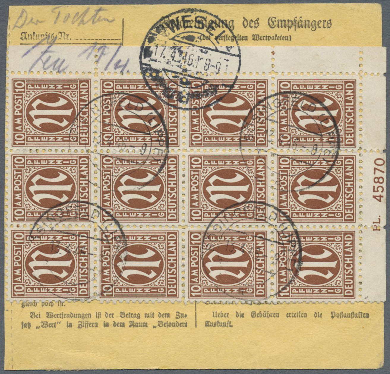 Lot 25078 - bizone  -  Auktionshaus Christoph Gärtner GmbH & Co. KG Single lots Germany + Picture Postcards. Auction #39 Day 5