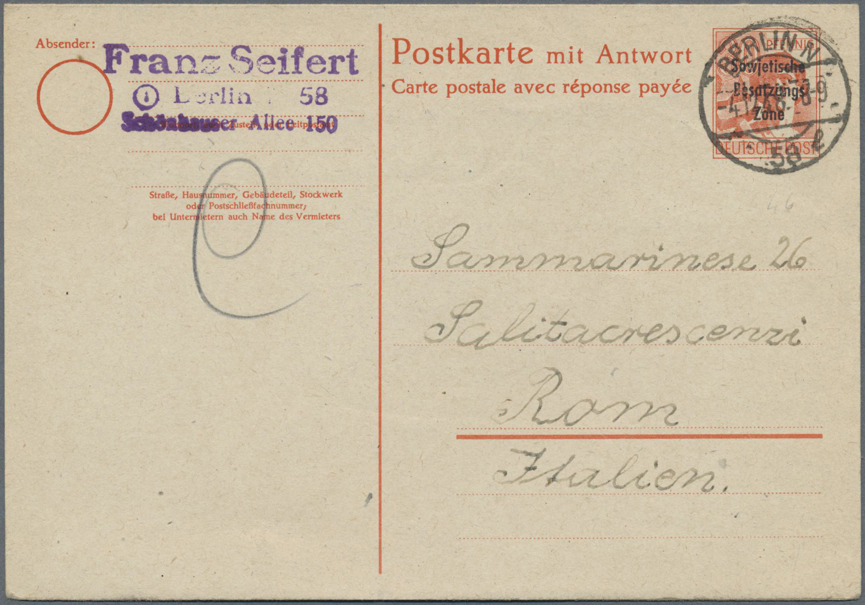 Lot 20174 - Sowjetische Zone - Ganzsachen  -  Auktionshaus Christoph Gärtner GmbH & Co. KG Auction #40 Germany, Picture Post Cards, Collections Overseas, Thematics