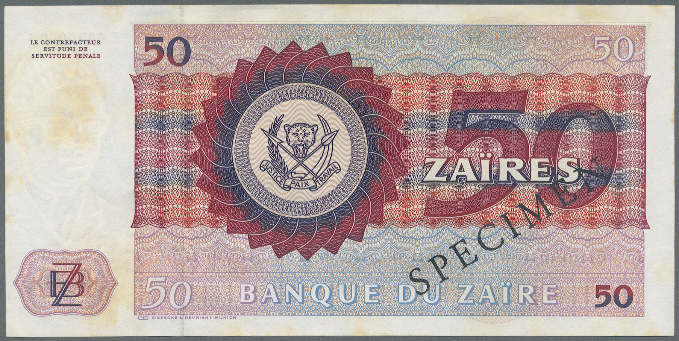 Lot 00934 - Zaire | Banknoten  -  Auktionshaus Christoph Gärtner GmbH & Co. KG Sale #48 The Banknotes