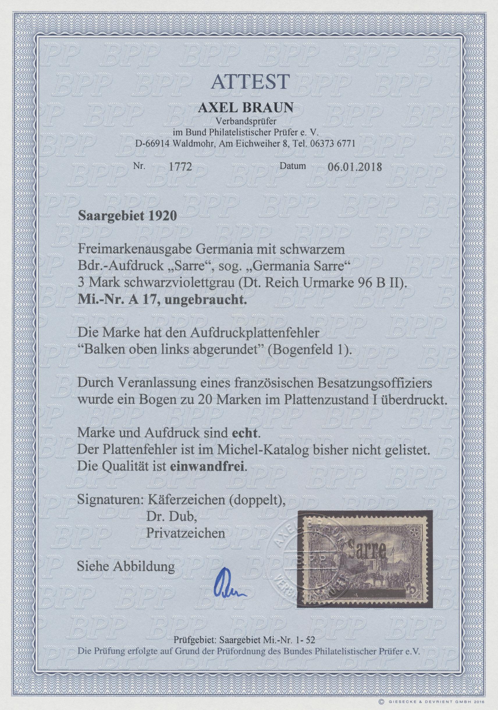 Lot 00721 - Deutsche Abstimmungsgebiete: Saargebiet  -  Auktionshaus Christoph Gärtner GmbH & Co. KG 50th Auction Anniversary Auction - Day 8