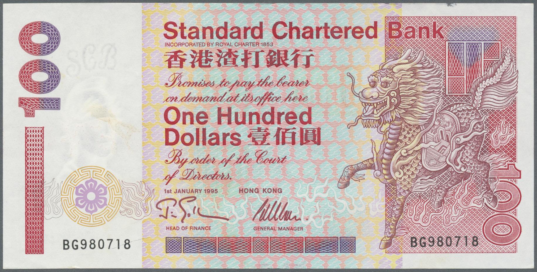 banknote UNC 1995 Standard Chartered Bank Hong Kong 20 Dollars P-285b
