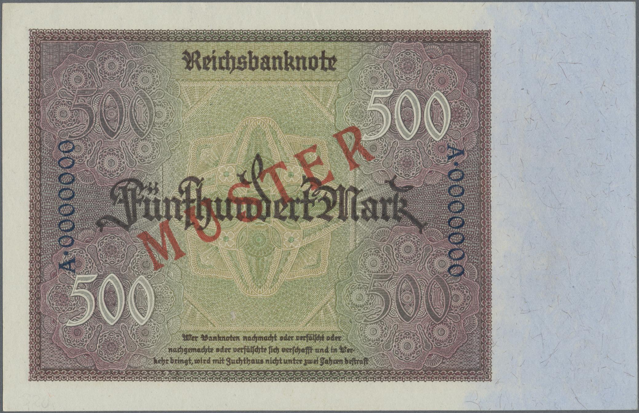 Lot 03328 - Deutschland - Deutsches Reich bis 1945 | Banknoten  -  Auktionshaus Christoph Gärtner GmbH & Co. KG Sale #45 Banknotes Germany/Numismatics