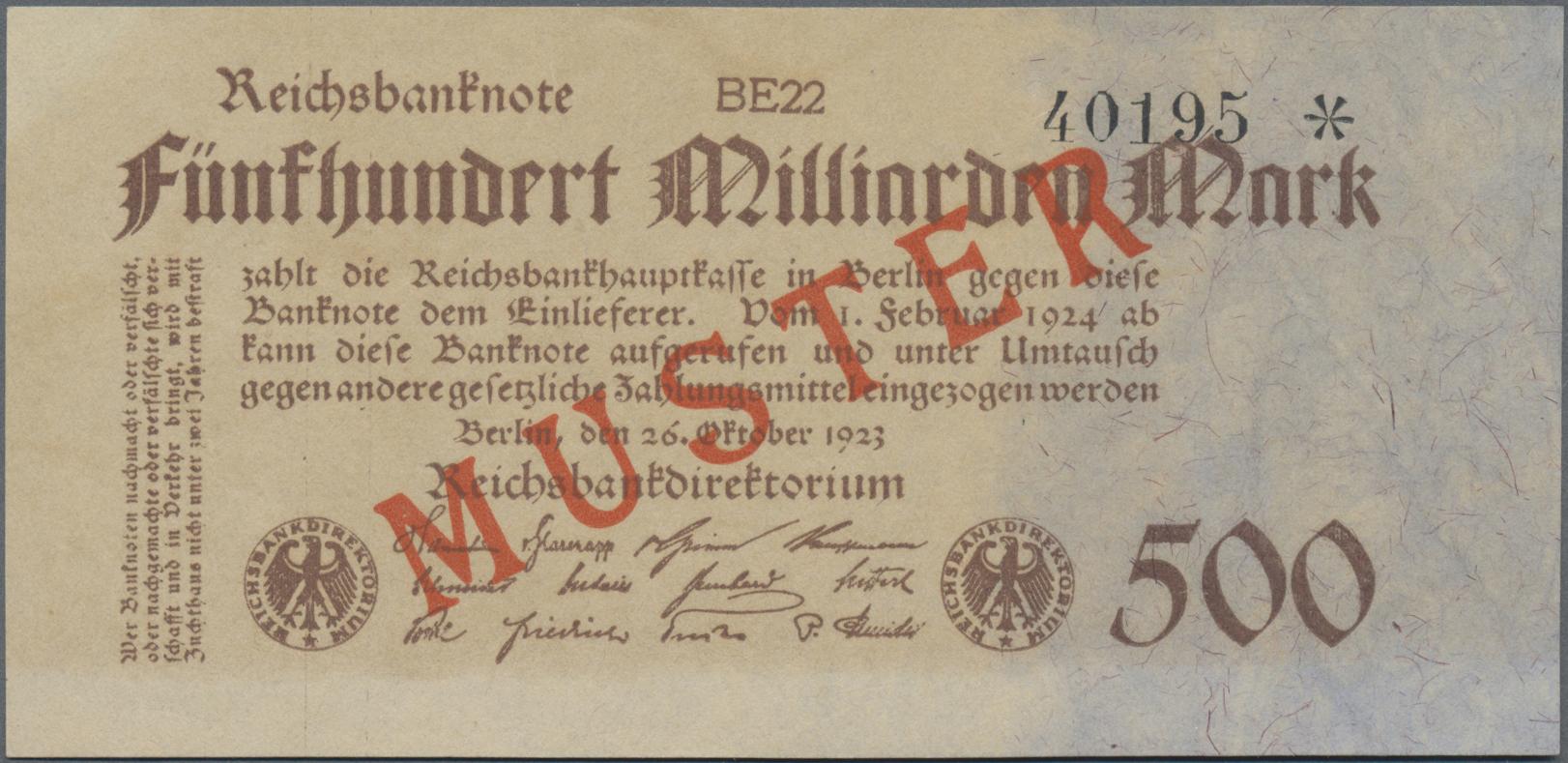 Lot 03345 - Deutschland - Deutsches Reich bis 1945 | Banknoten  -  Auktionshaus Christoph Gärtner GmbH & Co. KG Sale #45 Banknotes Germany/Numismatics