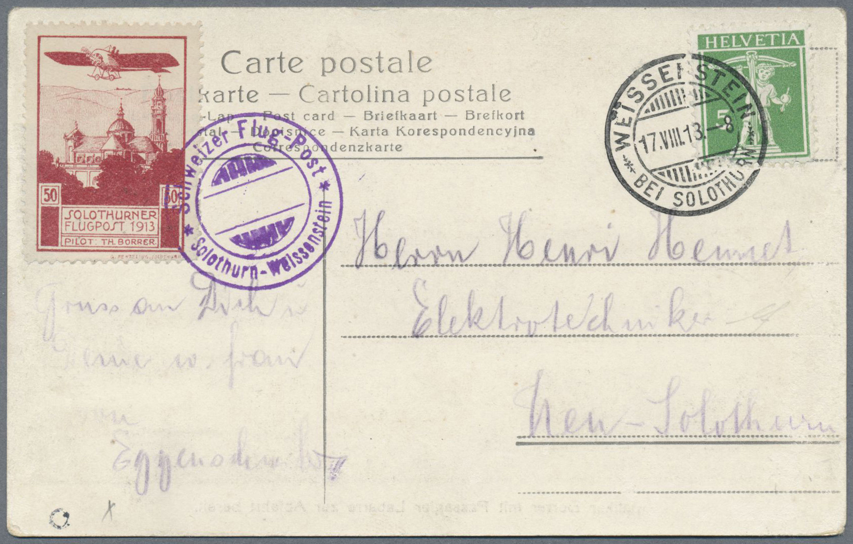 Lot 18981 - Schweiz - Halbamtliche Flugmarken  -  Auktionshaus Christoph Gärtner GmbH & Co. KG Single lots Philately Overseas & Europe. Auction #39 Day 4