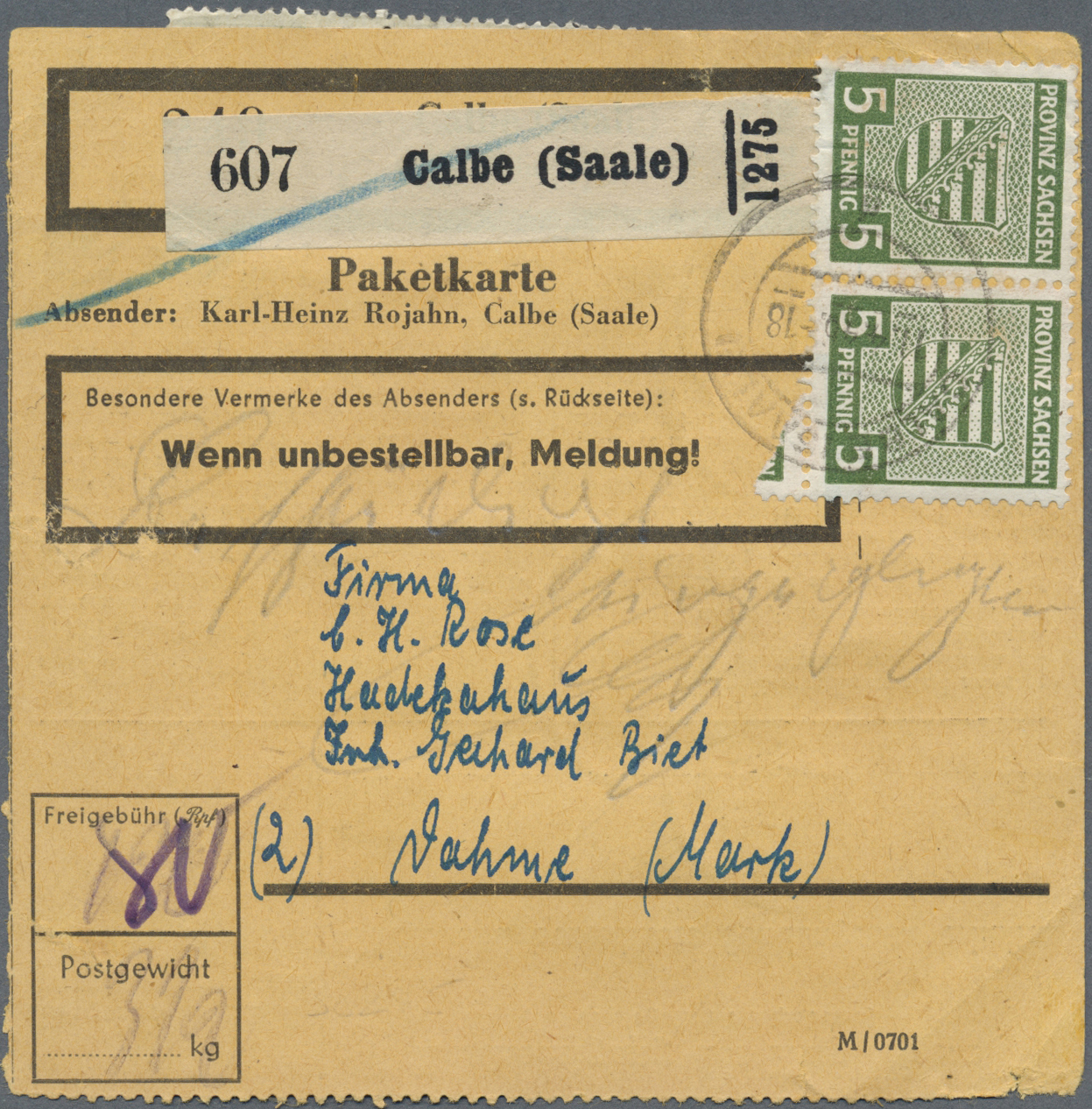 Lot 24131 - Sowjetische Zone - Provinz Sachsen  -  Auktionshaus Christoph Gärtner GmbH & Co. KG Single lots Germany + Picture Postcards. Auction #39 Day 5