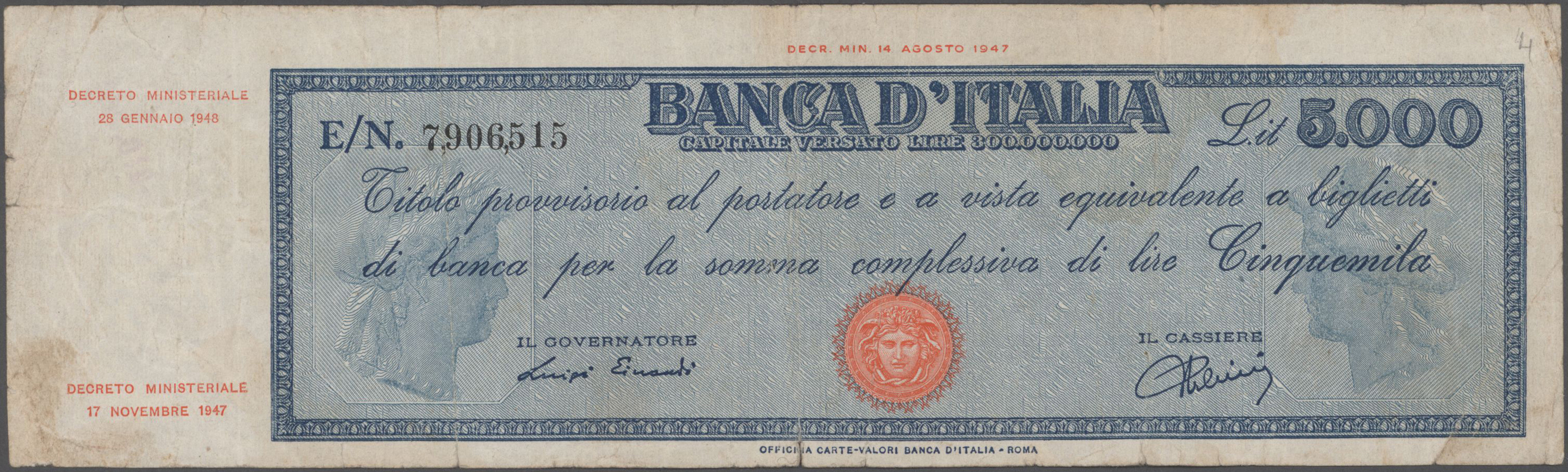 Lot 00457 - Italy / Italien | Banknoten  -  Auktionshaus Christoph Gärtner GmbH & Co. KG Sale #48 The Banknotes