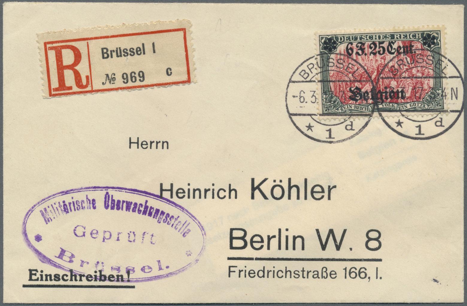 Lot 22639 - Deutsche Besetzung I. WK: Landespost in Belgien  -  Auktionshaus Christoph Gärtner GmbH & Co. KG Single lots Germany + Picture Postcards. Auction #39 Day 5