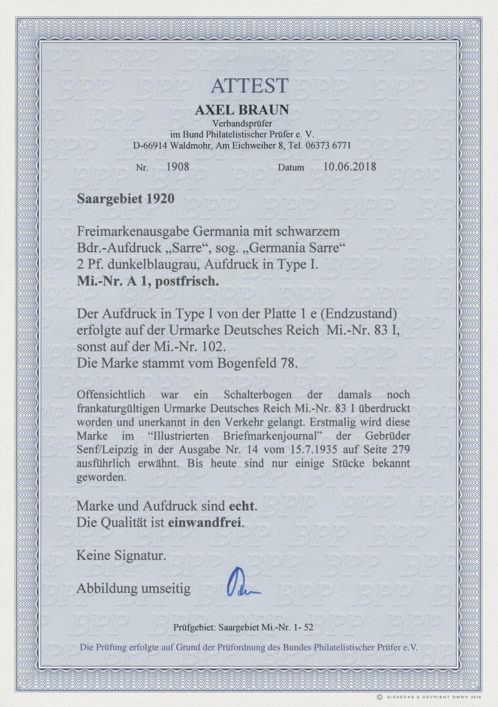 Lot 00717 - Deutsche Abstimmungsgebiete: Saargebiet  -  Auktionshaus Christoph Gärtner GmbH & Co. KG 50th Auction Anniversary Auction - Day 8