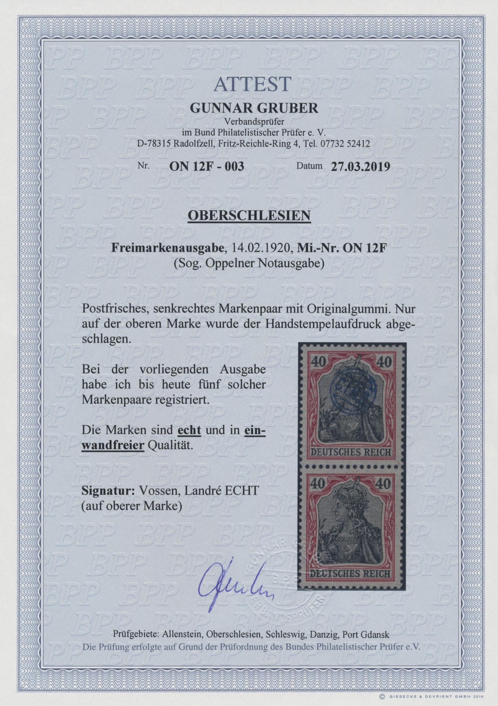 Lot 00051 - Deutsche Abstimmungsgebiete: Oberschlesien - Französische Besatzung  -  Auktionshaus Christoph Gärtner GmbH & Co. KG Sale #44 The PETER ZGONC COLLECTION