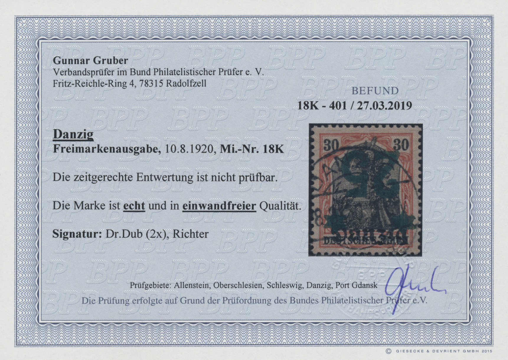 Lot 00072 - danzig  -  Auktionshaus Christoph Gärtner GmbH & Co. KG Sale #44 The PETER ZGONC COLLECTION