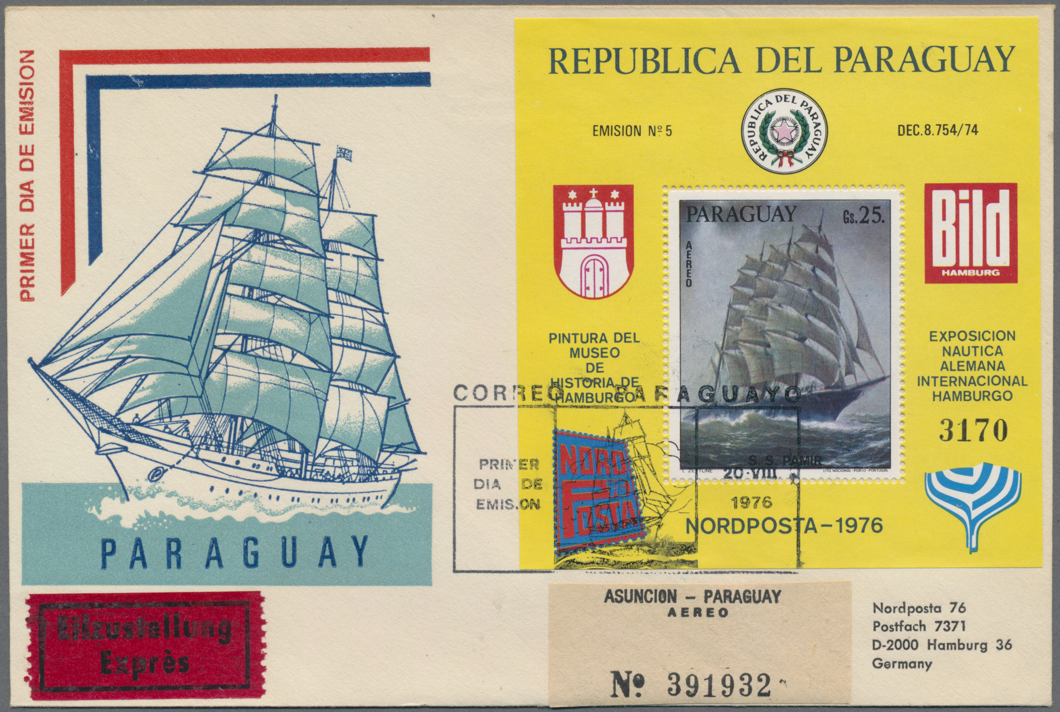 Lot 14279 - Paraguay  -  Auktionshaus Christoph Gärtner GmbH & Co. KG Sale #48 collections Overseas  Airmail / Ship mail & Thematics