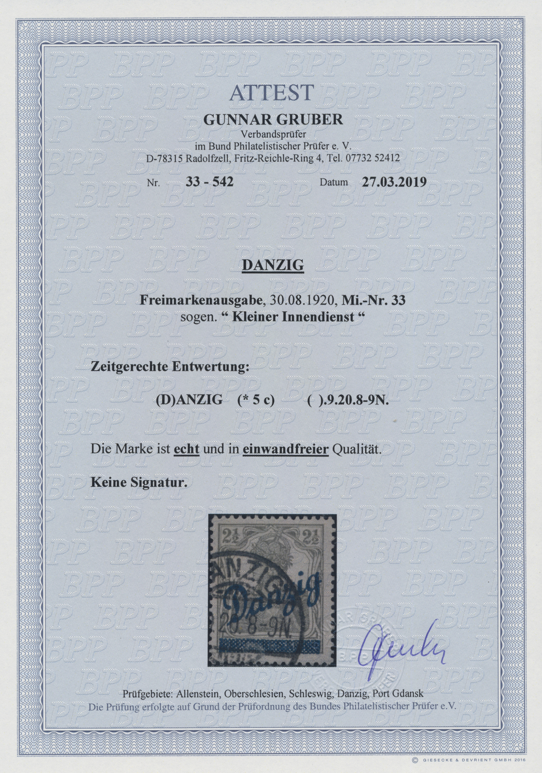 Lot 00075 - danzig  -  Auktionshaus Christoph Gärtner GmbH & Co. KG Sale #44 The PETER ZGONC COLLECTION