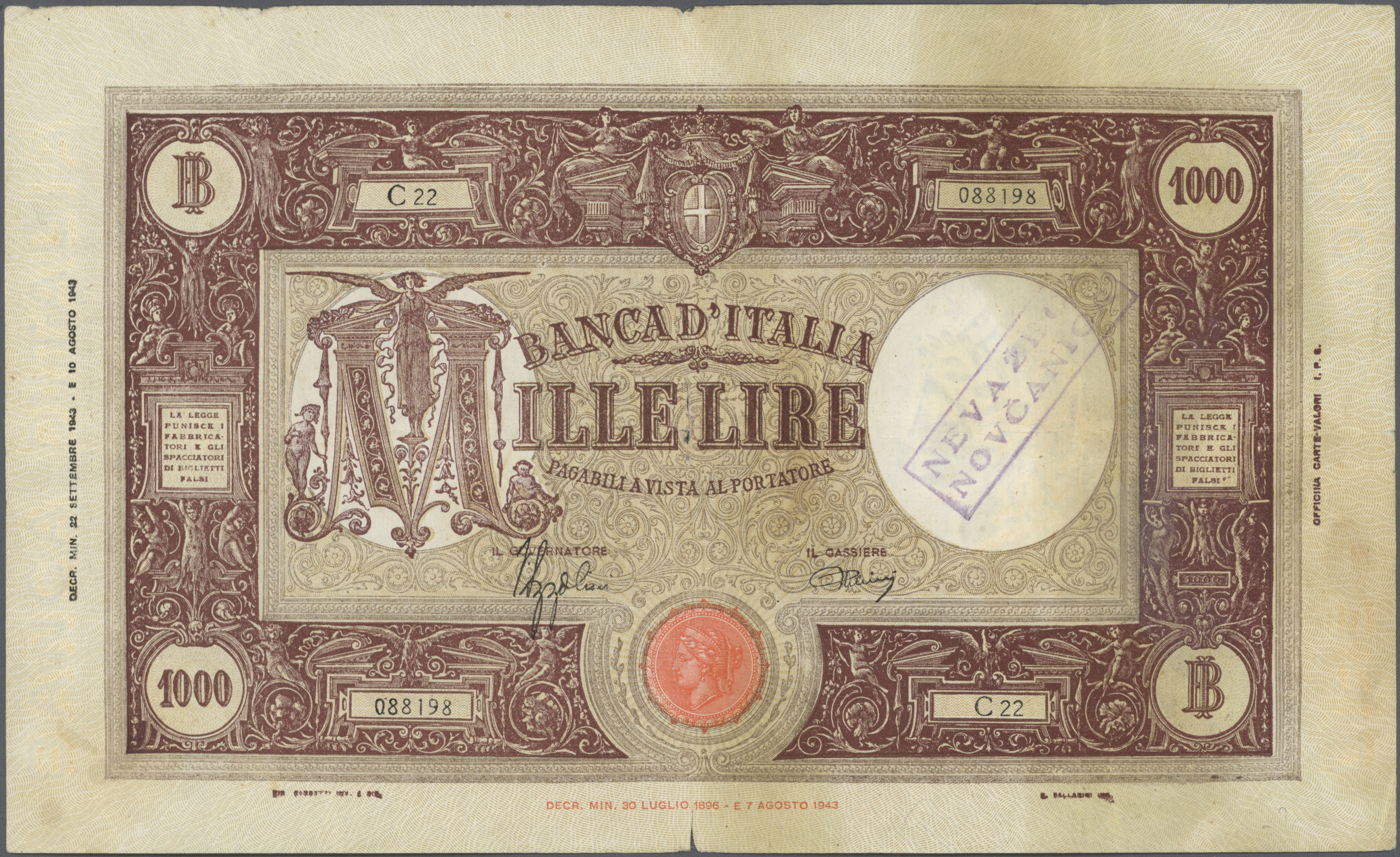 Lot 01055 - Italy / Italien | Banknoten  -  Auktionshaus Christoph Gärtner GmbH & Co. KG Sale #48 The Banknotes