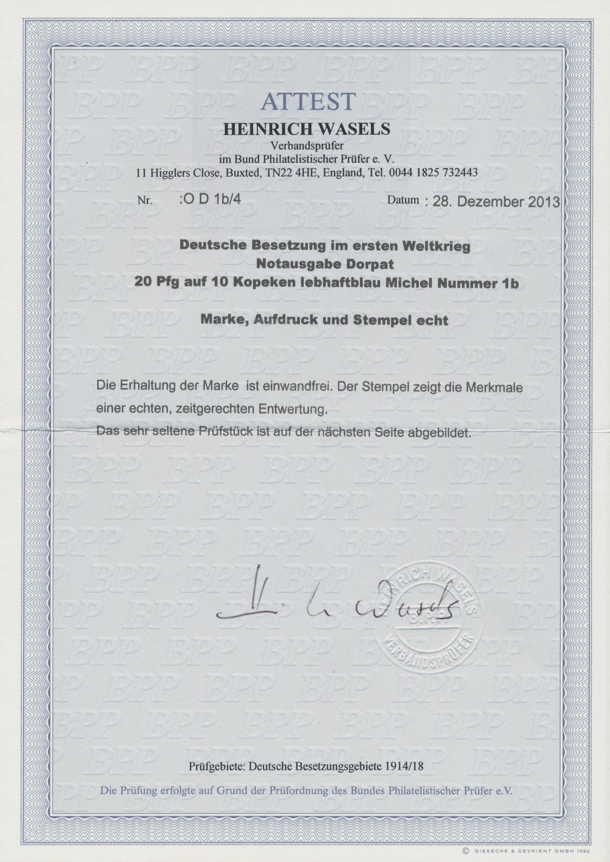 Lot 00003 - Deutsche Besetzung I. WK: Postgebiet Ober. Ost - Dorpat  -  Auktionshaus Christoph Gärtner GmbH & Co. KG Sale #44 The PETER ZGONC COLLECTION
