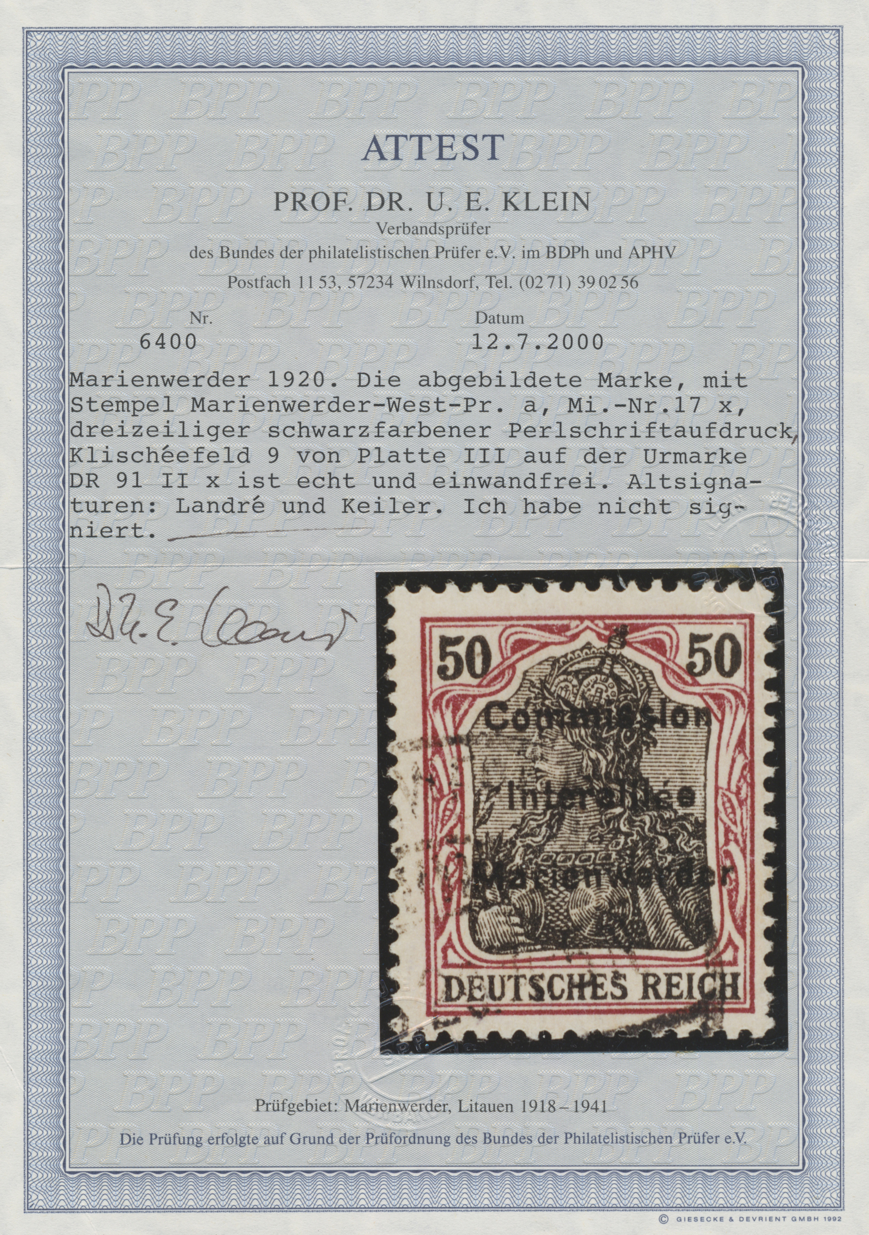 Lot 00023 - Deutsche Abstimmungsgebiete: Marienwerder  -  Auktionshaus Christoph Gärtner GmbH & Co. KG Sale #44 The PETER ZGONC COLLECTION