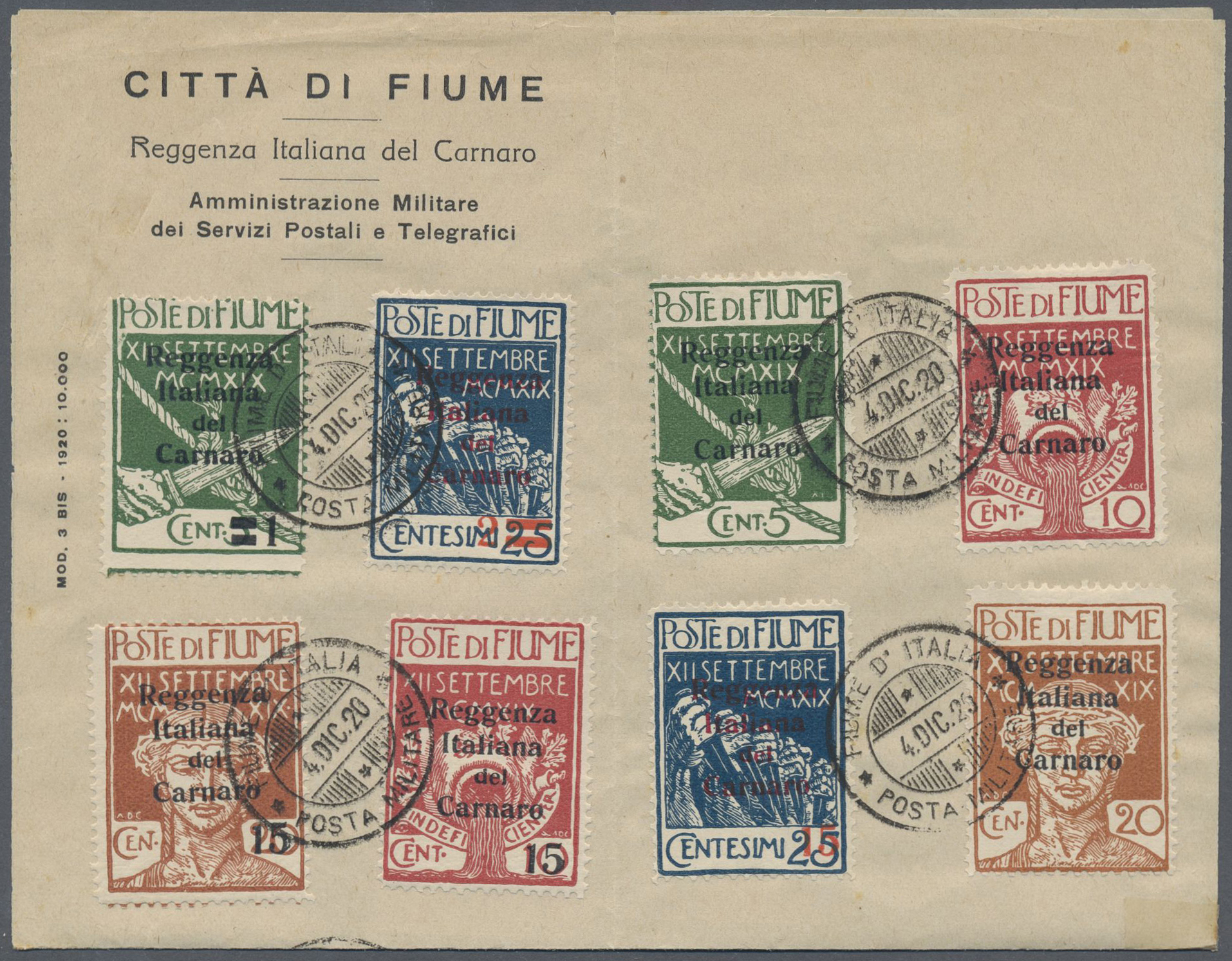 Lot 15862 - Fiume - Besetzung der Carnaro-Inseln  -  Auktionshaus Christoph Gärtner GmbH & Co. KG Single lots Philately Overseas & Europe. Auction #39 Day 4