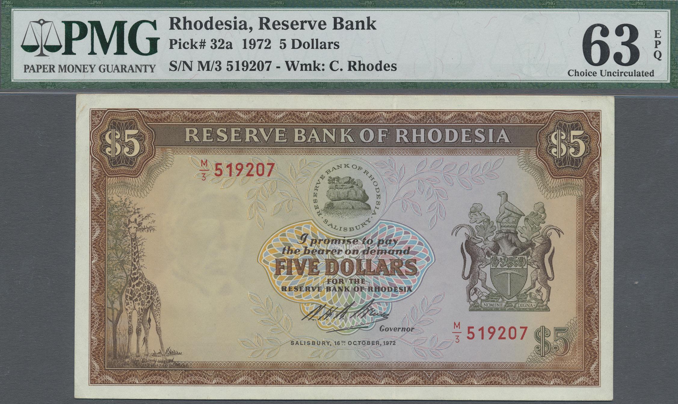 Lot 00615 - Rhodesia / Rhodesien | Banknoten  -  Auktionshaus Christoph Gärtner GmbH & Co. KG Sale #48 The Banknotes