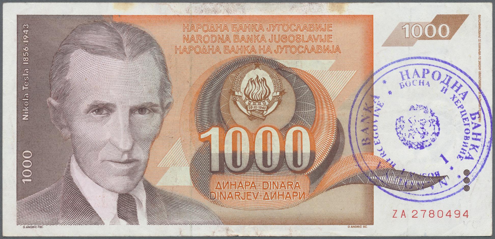 Lot 00360 - Bosnia & Herzegovina / Bosnien & Herzegovina   Banknoten  -  Auktionshaus Christoph Gärtner GmbH & Co. KG 51th Auction - Day 1