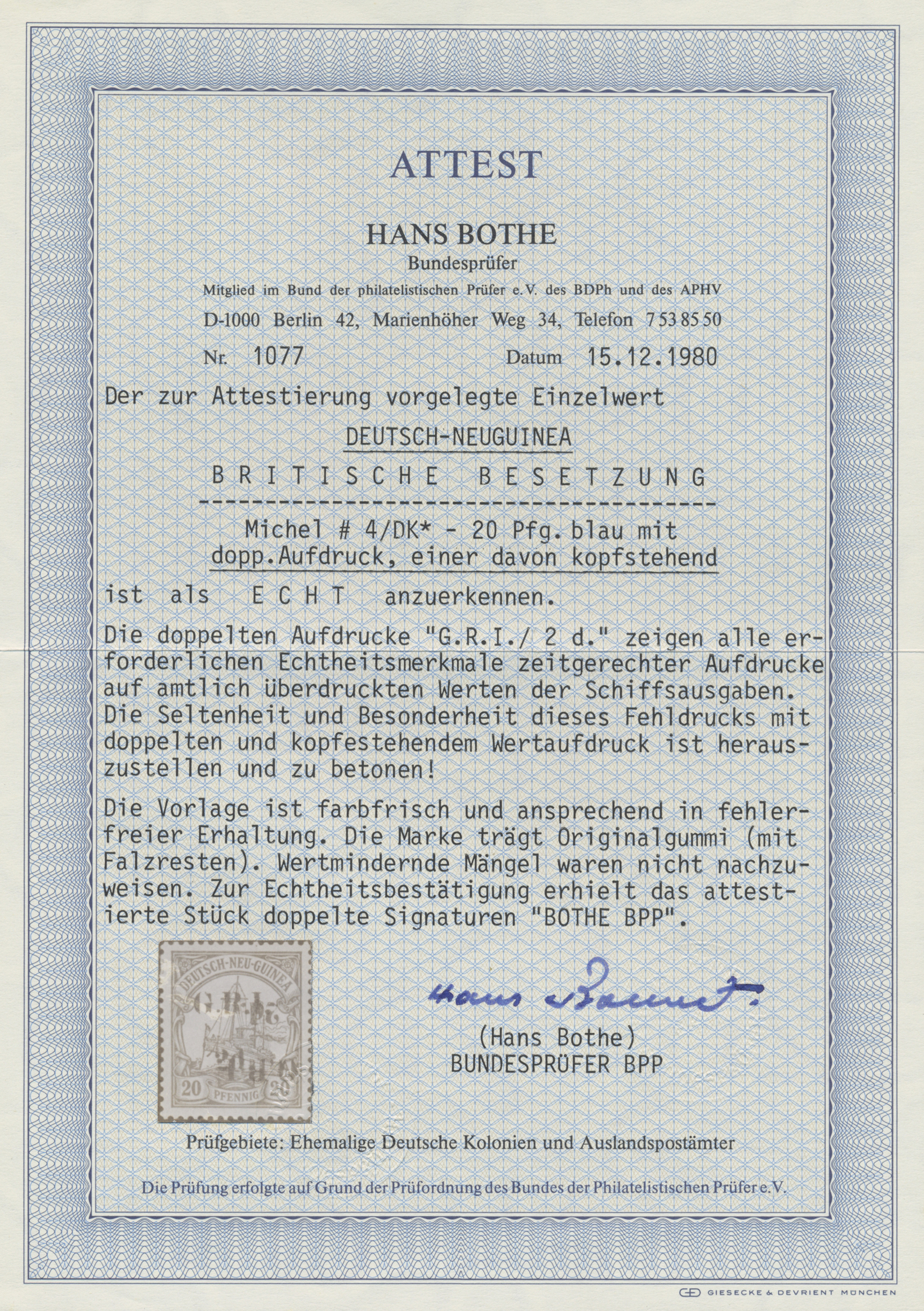 Lot 00004 - Deutsch-Neuguinea - Britische Besetzung  -  Auktionshaus Christoph Gärtner GmbH & Co. KG Special Auction Collection PETER ZGONC
