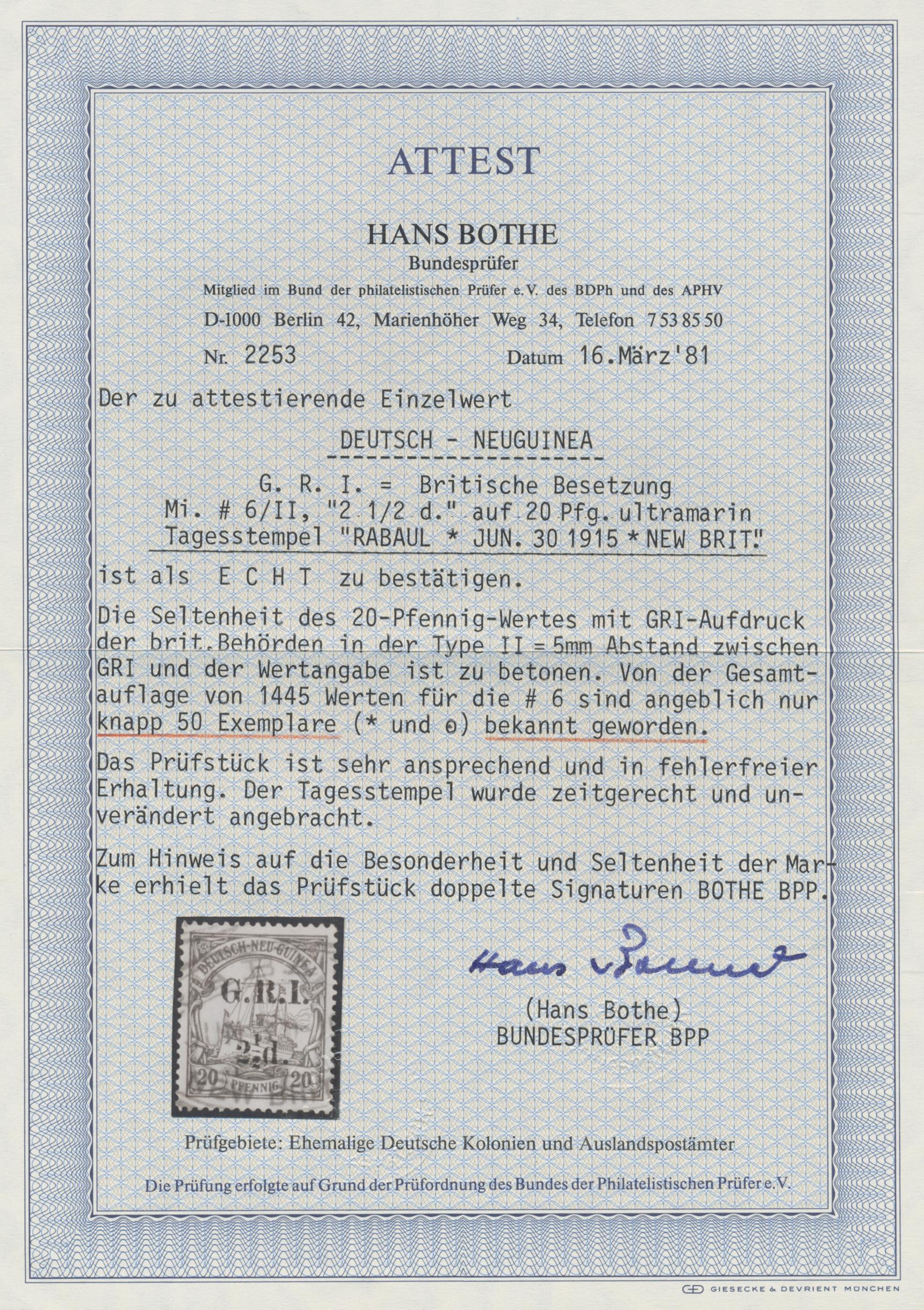 Lot 00009 - Deutsch-Neuguinea - Britische Besetzung  -  Auktionshaus Christoph Gärtner GmbH & Co. KG Special Auction Collection PETER ZGONC