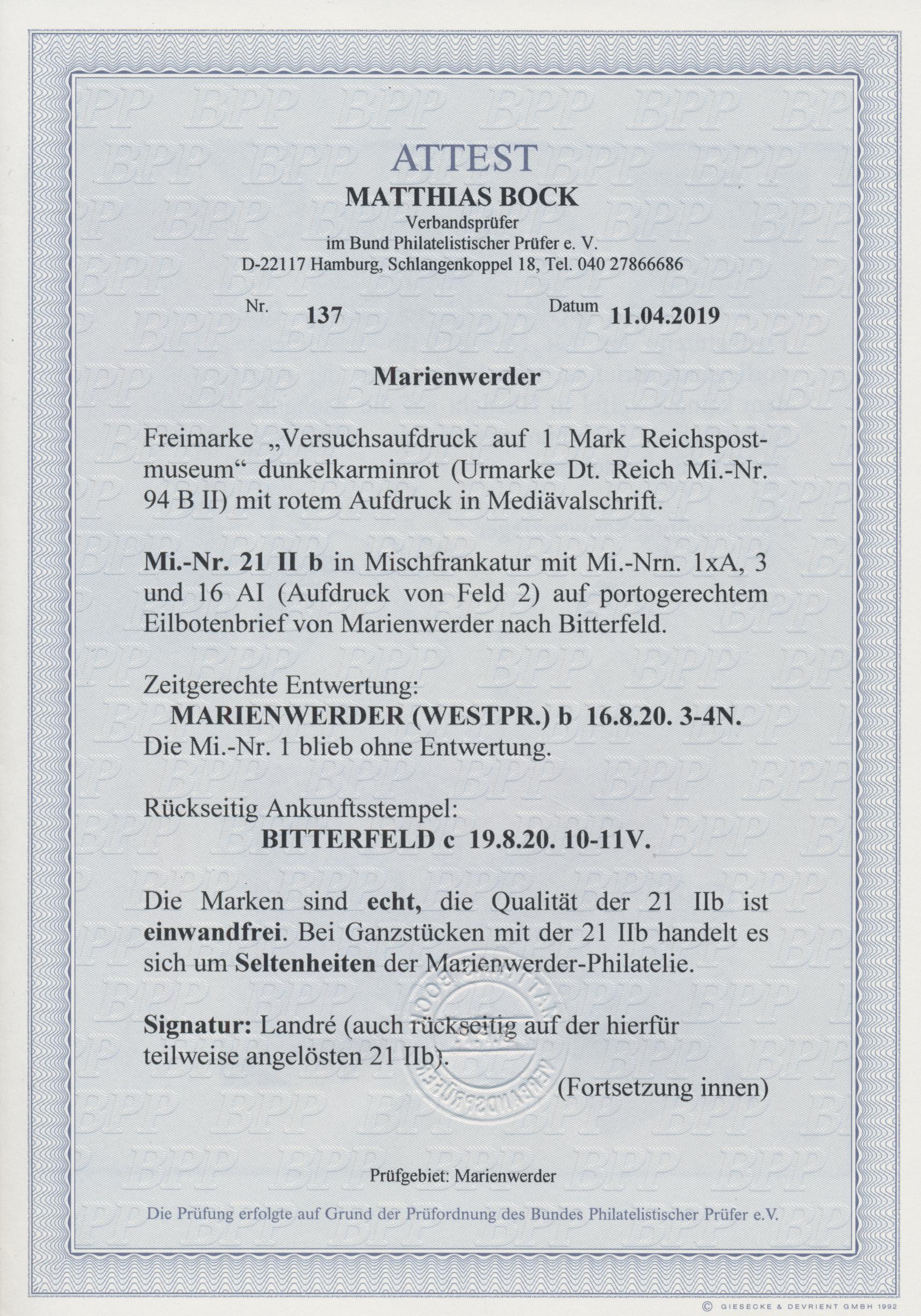 Lot 00025 - Deutsche Abstimmungsgebiete: Marienwerder  -  Auktionshaus Christoph Gärtner GmbH & Co. KG Sale #44 The PETER ZGONC COLLECTION