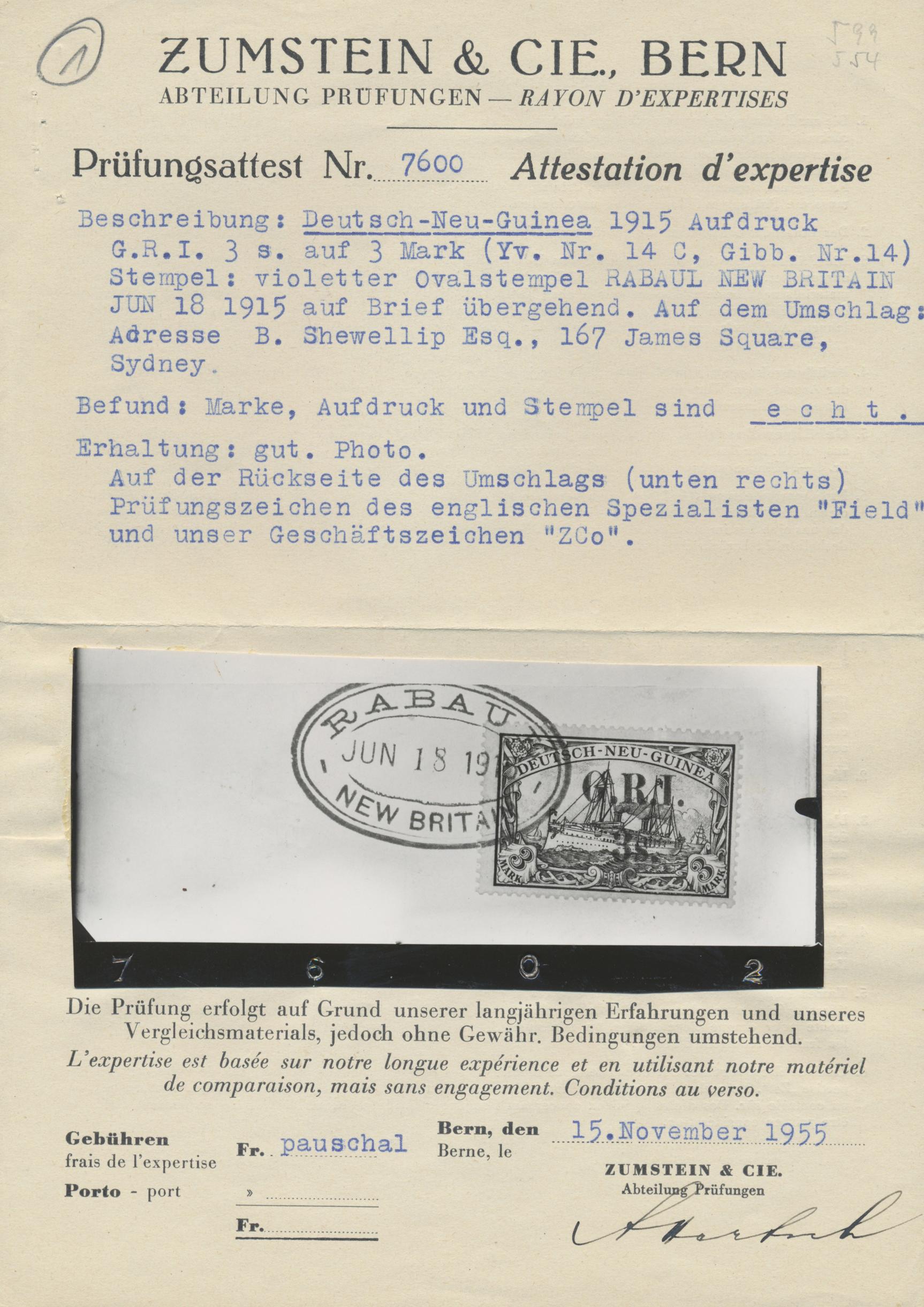 Lot 00024 - Deutsch-Neuguinea - Britische Besetzung  -  Auktionshaus Christoph Gärtner GmbH & Co. KG Special Auction Collection PETER ZGONC