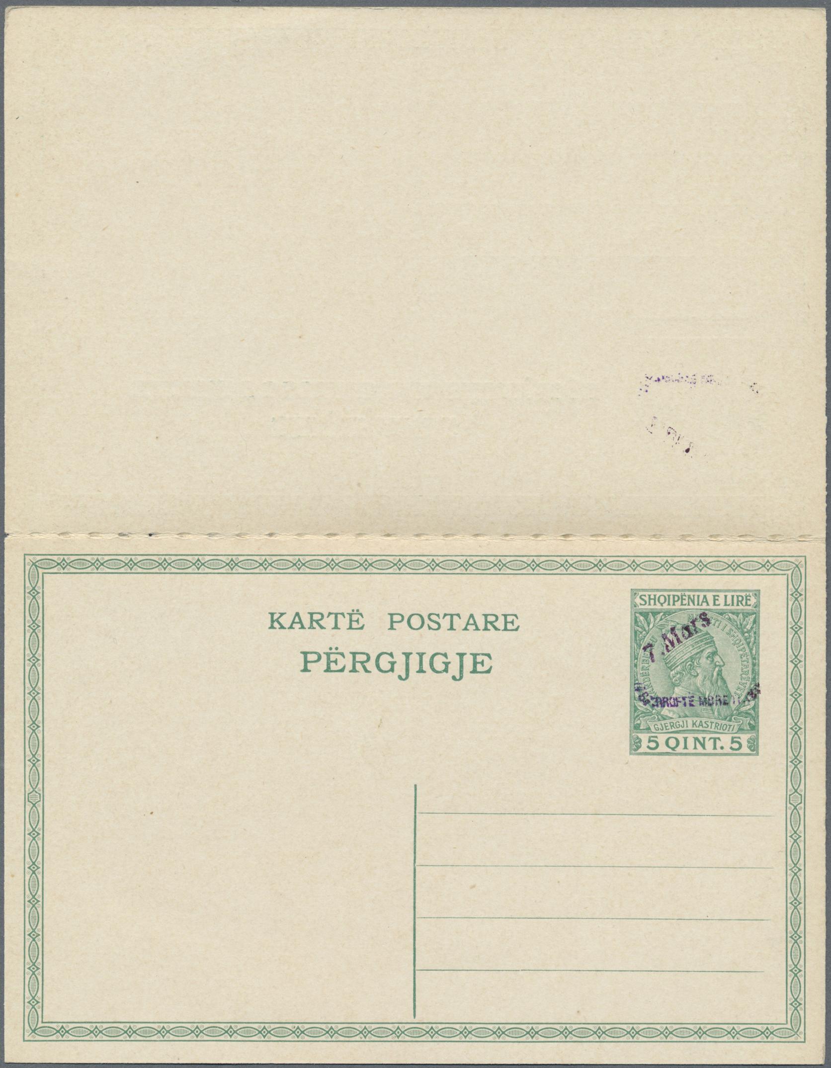 Lot 15565 - Albanien - Ganzsachen  -  Auktionshaus Christoph Gärtner GmbH & Co. KG Single lots Philately Overseas & Europe. Auction #39 Day 4