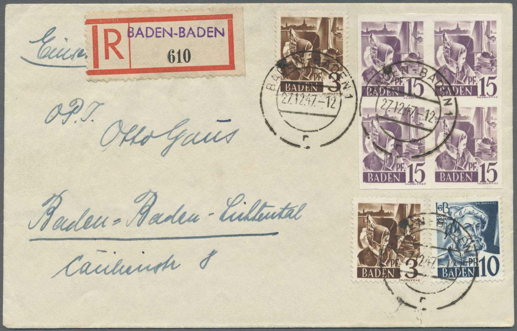 Lot 24922 - französische zone - baden  -  Auktionshaus Christoph Gärtner GmbH & Co. KG Single lots Germany + Picture Postcards. Auction #39 Day 5