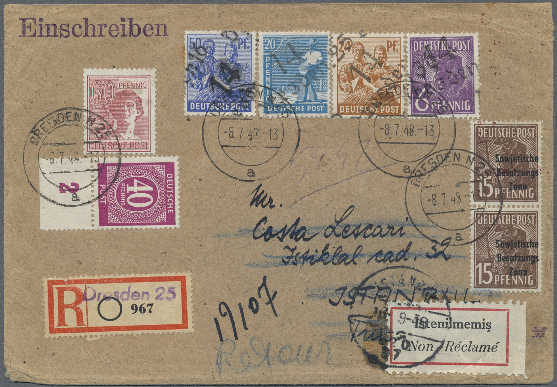 Lot 17194 - Sowjetische Zone - Bezirkshandstempel - II - Bez. 14 (Dresden)  -  Auktionshaus Christoph Gärtner GmbH & Co. KG Sale #47 Single lots: Germany, Picture Postcards
