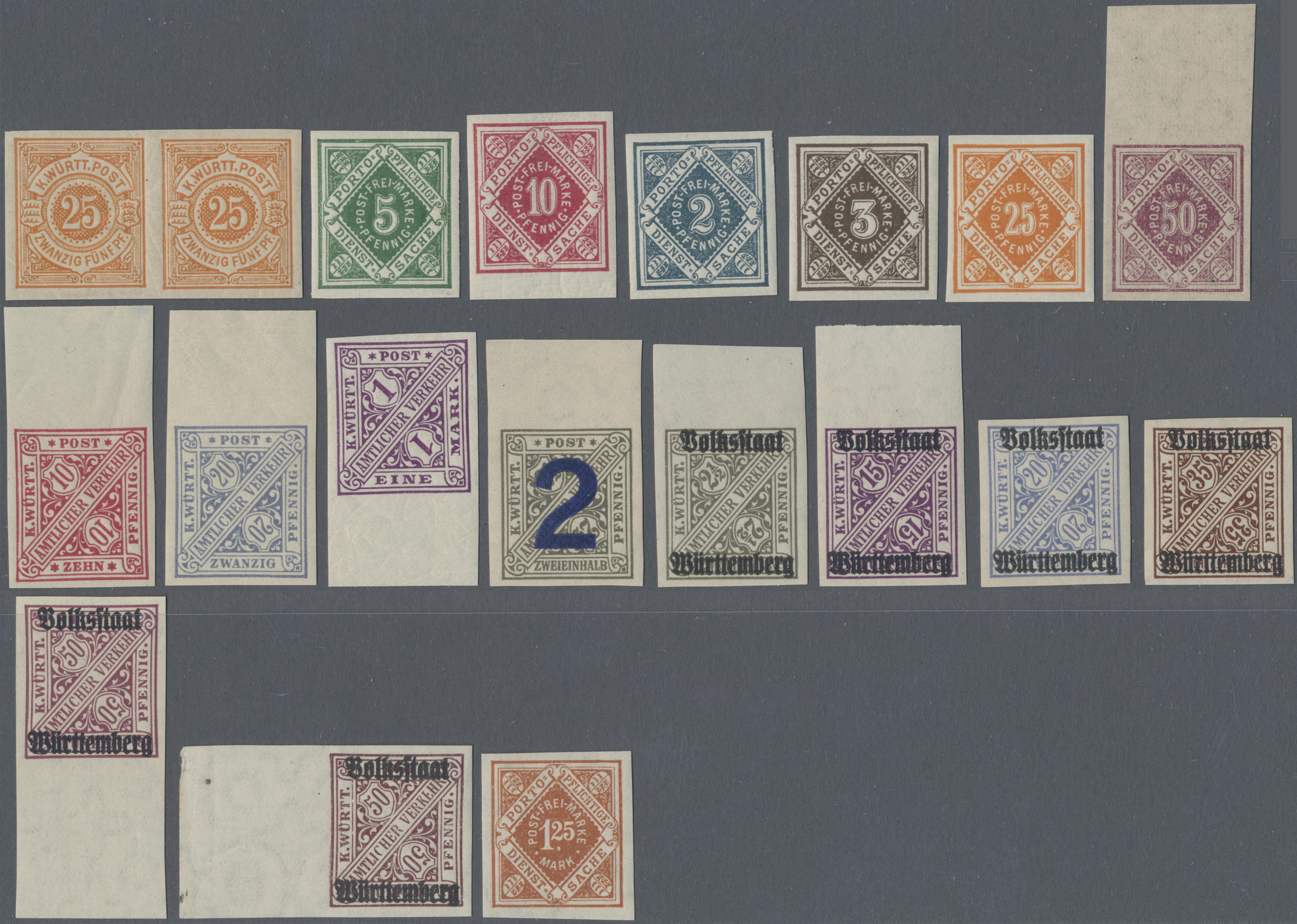 Lot 22992 - Württemberg - Marken und Briefe  -  Auktionshaus Christoph Gärtner GmbH & Co. KG 50th Auction Anniversary Auction - Day 7