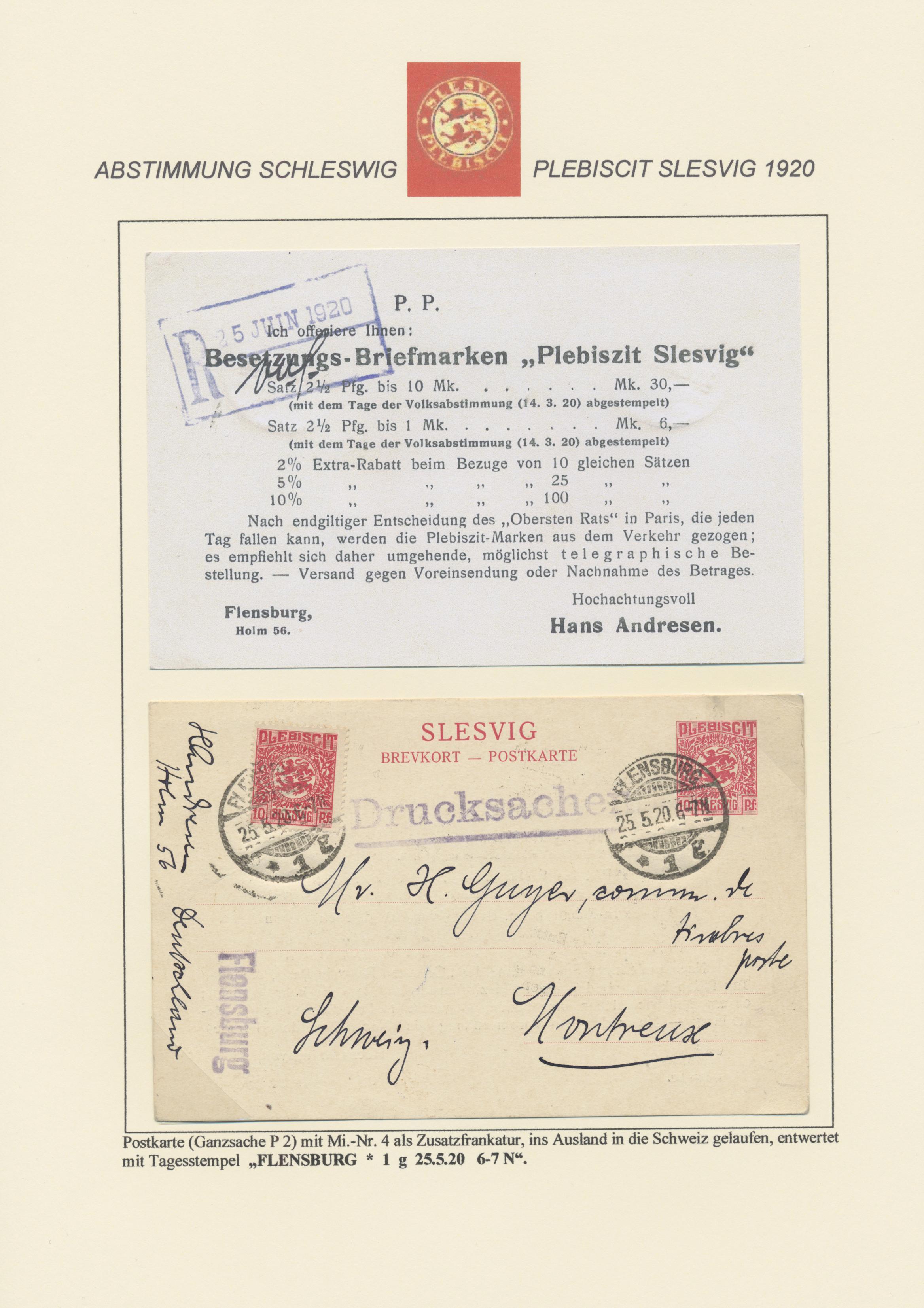 Lot 28891 - Deutsche Abstimmungsgebiete: Schleswig - Ganzsachen  -  Auktionshaus Christoph Gärtner GmbH & Co. KG Sale #46 Gollcetions Germany - including the suplement
