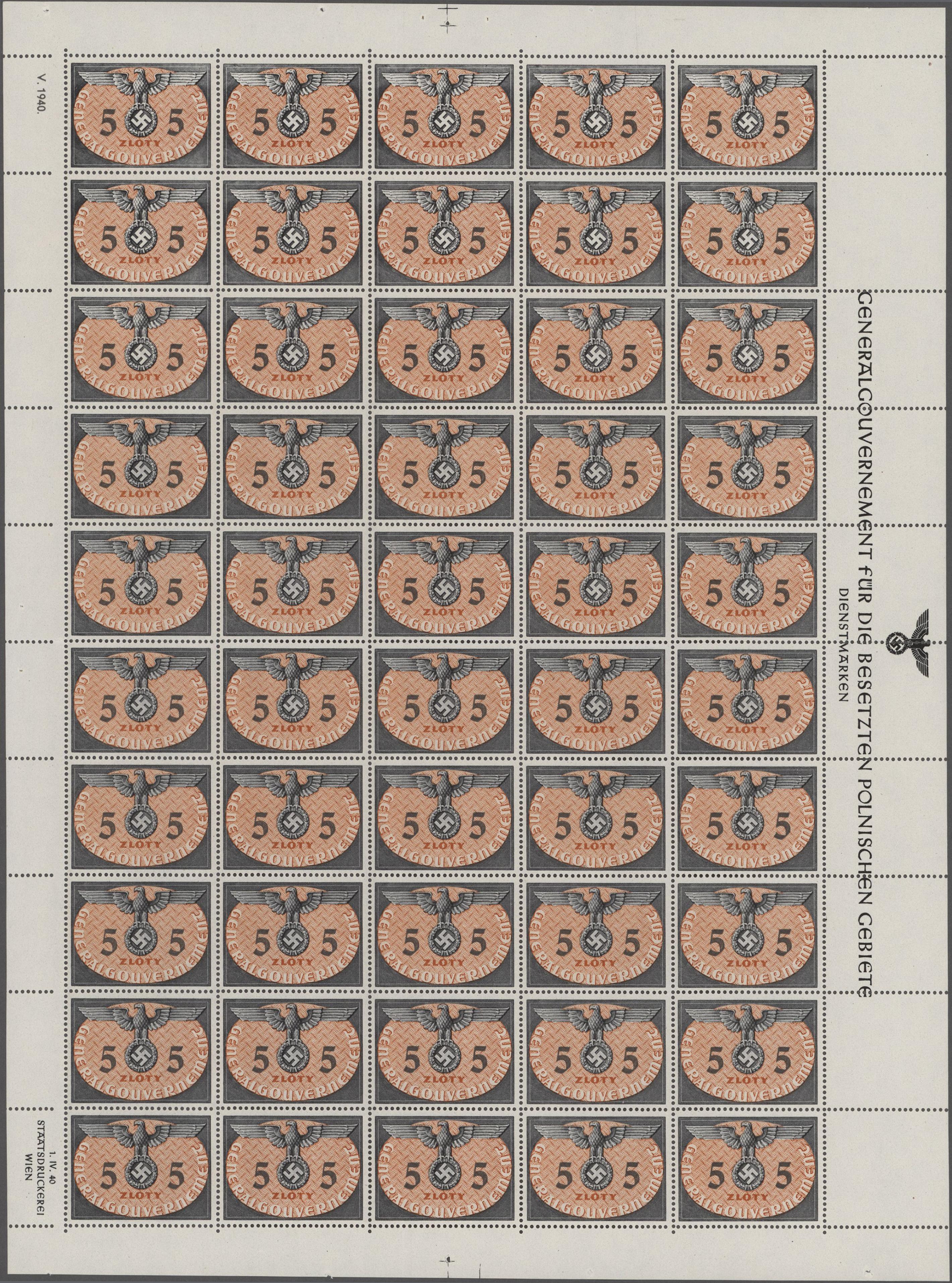 Lot 24917 - Dt. Besetzung II WK - Generalgouvernement - Dienstmarken  -  Auktionshaus Christoph Gärtner GmbH & Co. KG Sale #47 Colections: Germany