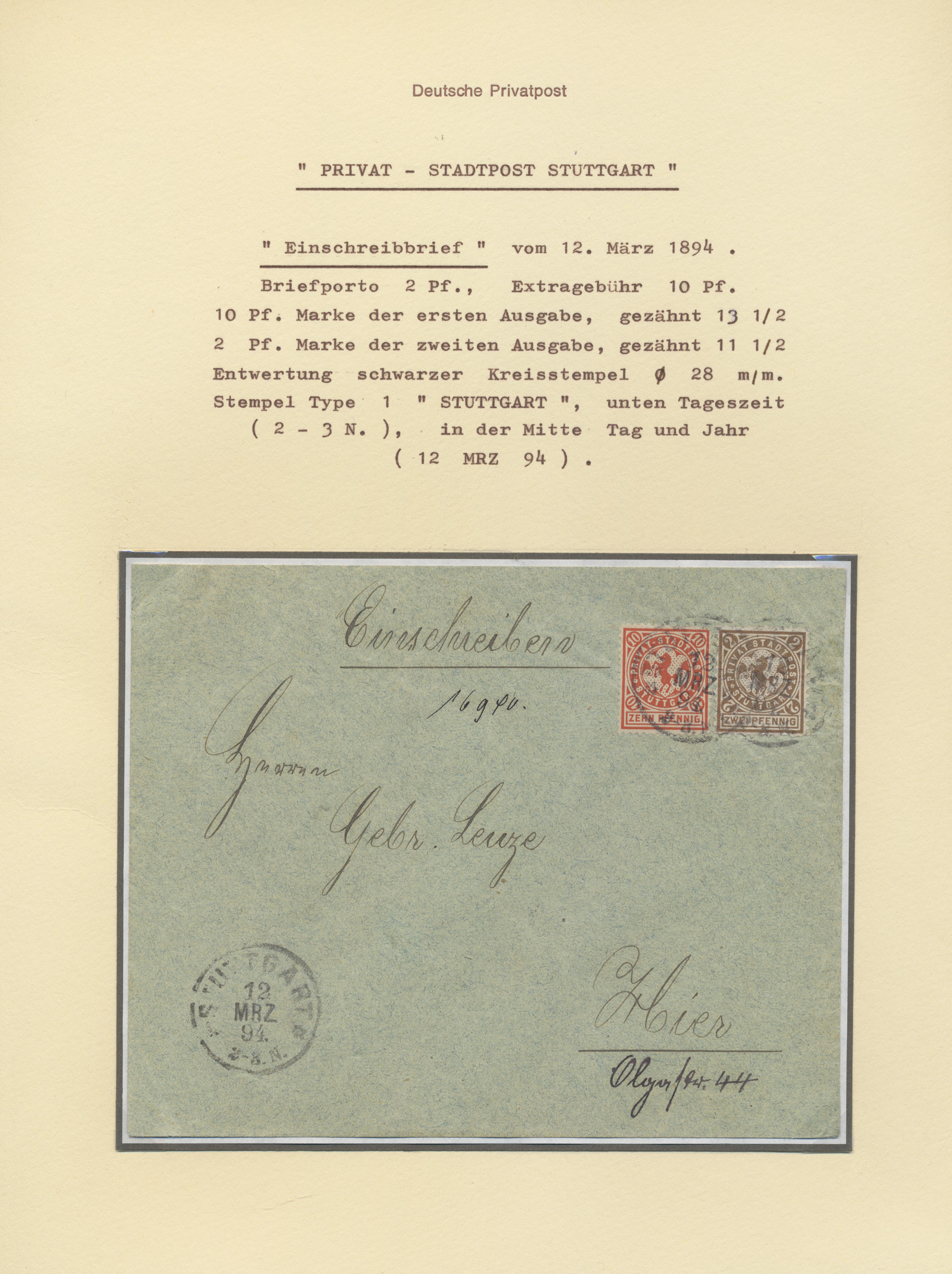 Stamp Auction Deutsches Reich Privatpost Stadtpost Sale 43