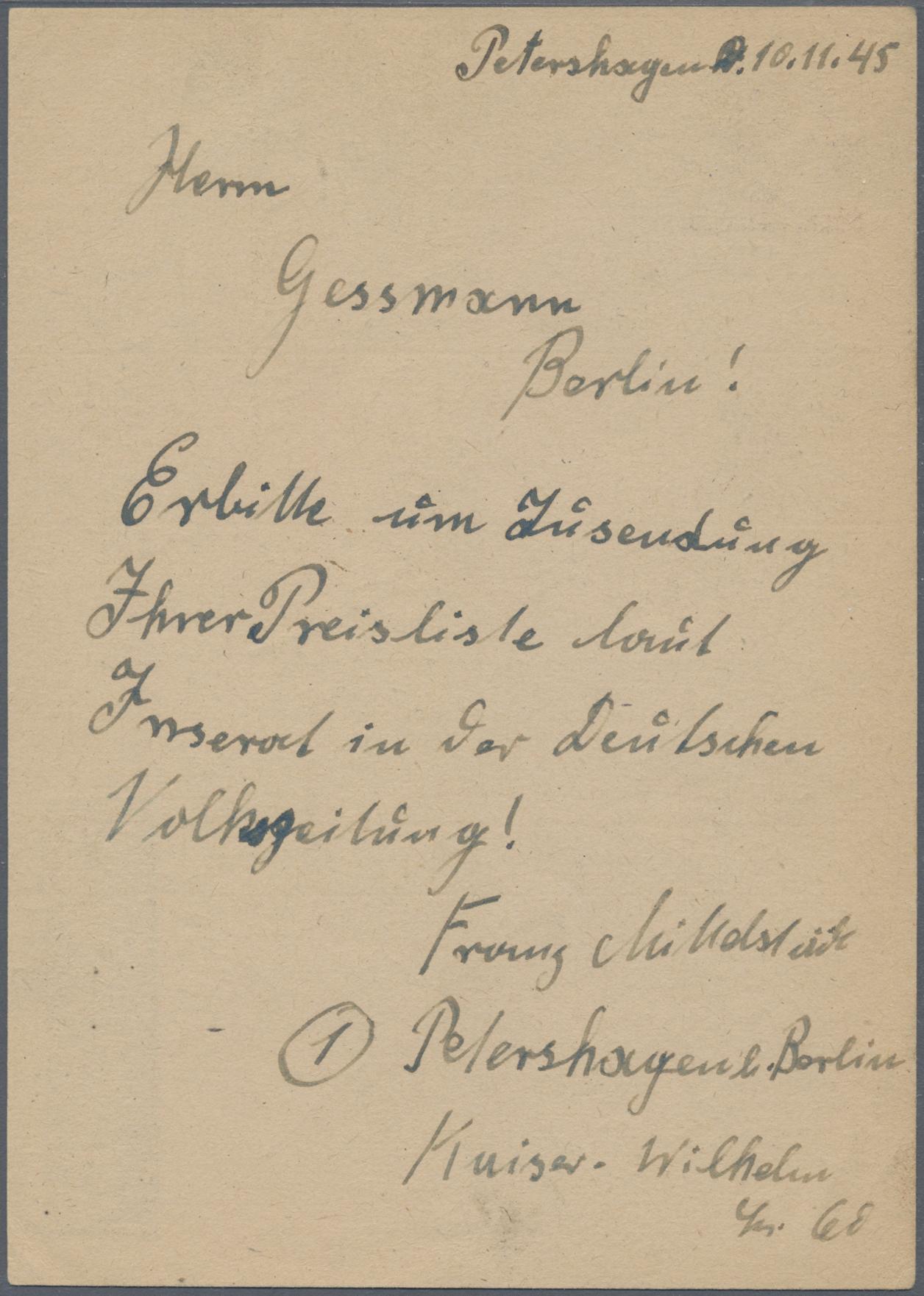 Lot 11906 - Deutsche Lokalausgaben ab 1945 - Fredersdorf  -  Auktionshaus Christoph Gärtner GmbH & Co. KG Sale #48 The Single Lots Philatelie