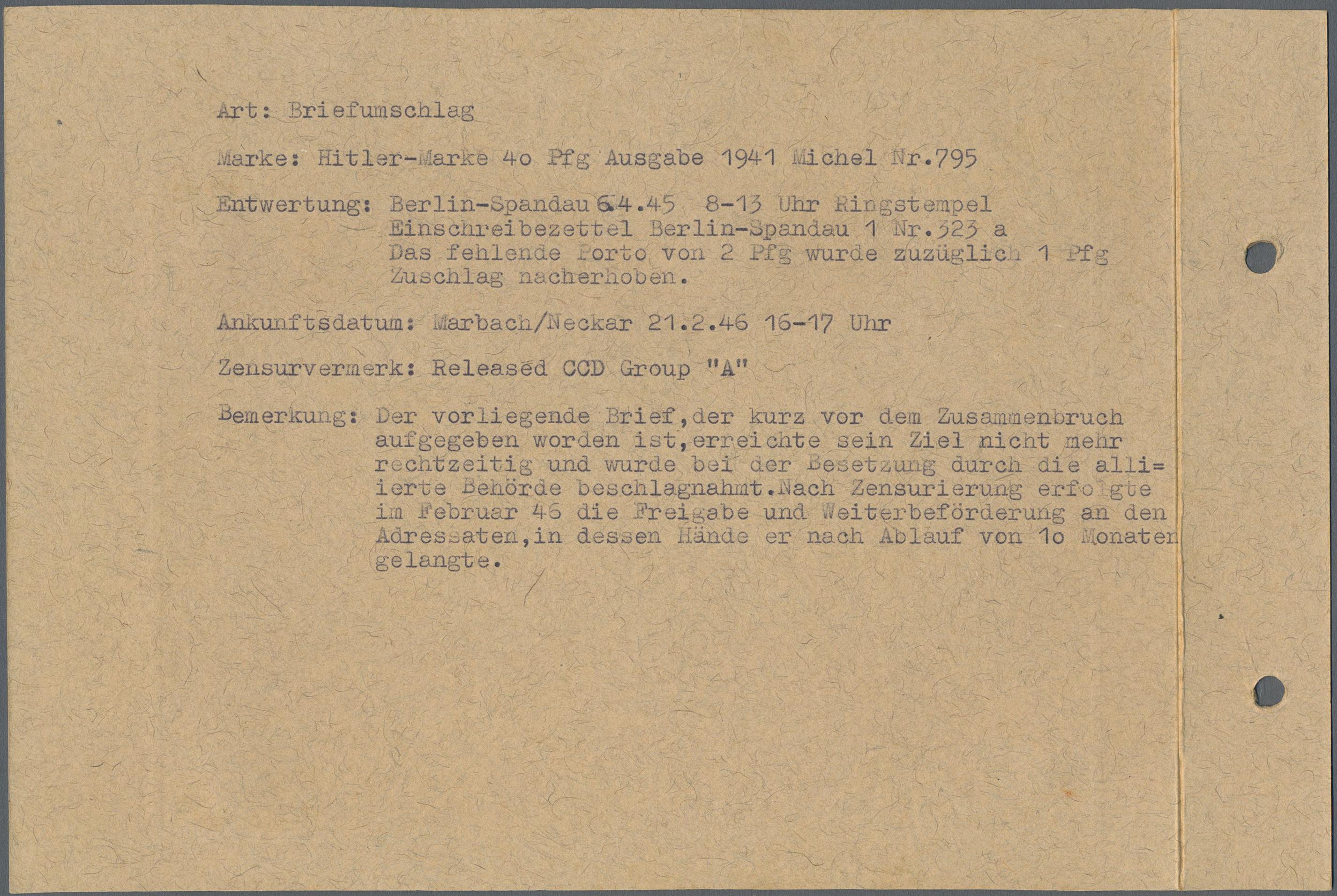 Lot 23860 - Alliierte Besetzung - Überroller-Belege  -  Auktionshaus Christoph Gärtner GmbH & Co. KG Single lots Germany + Picture Postcards. Auction #39 Day 5