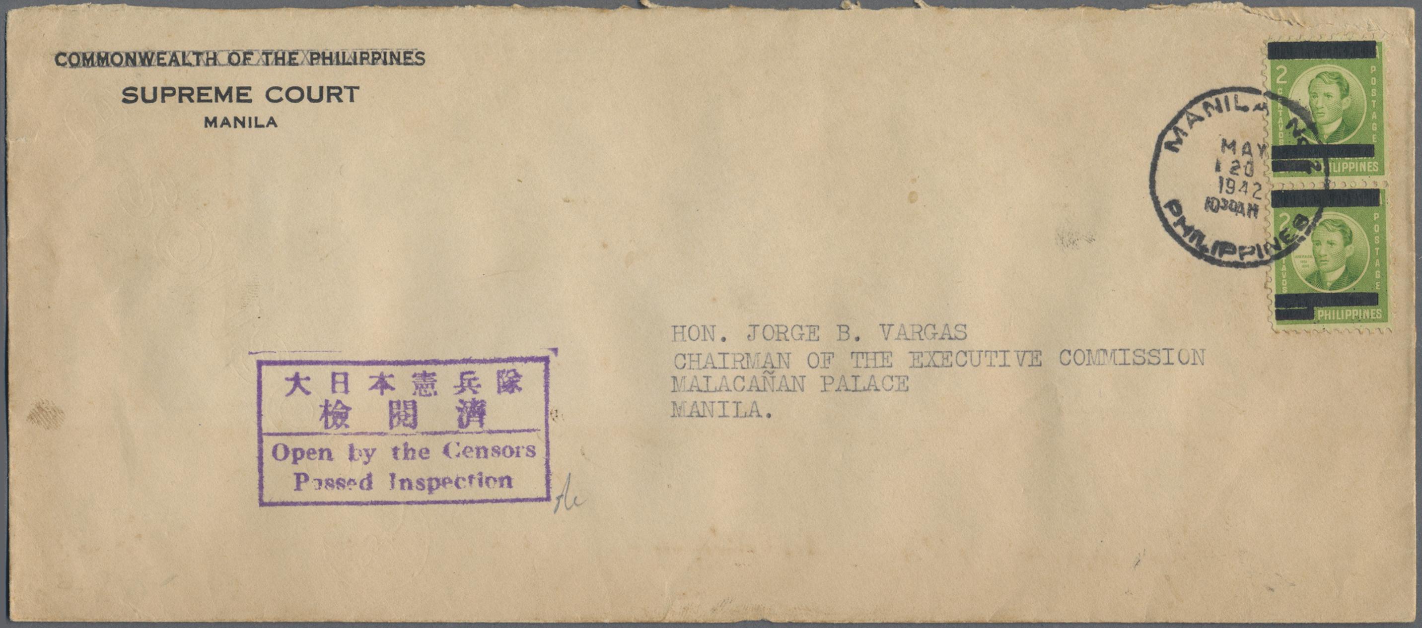Lot 13592 - Japanische Besetzung  WK II - Philippinen  -  Auktionshaus Christoph Gärtner GmbH & Co. KG Sale #48 collections Overseas  Airmail / Ship mail & Thematics