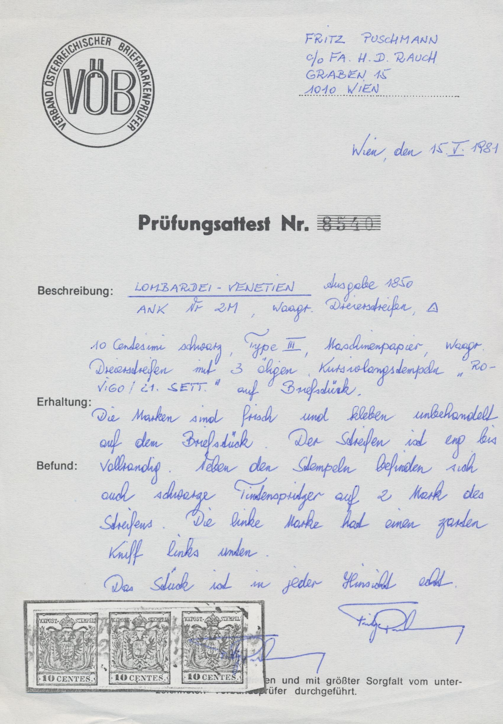 Lot 09564 - Österreich - Lombardei und Venetien  -  Auktionshaus Christoph Gärtner GmbH & Co. KG Sale #48 The Single Lots Philatelie