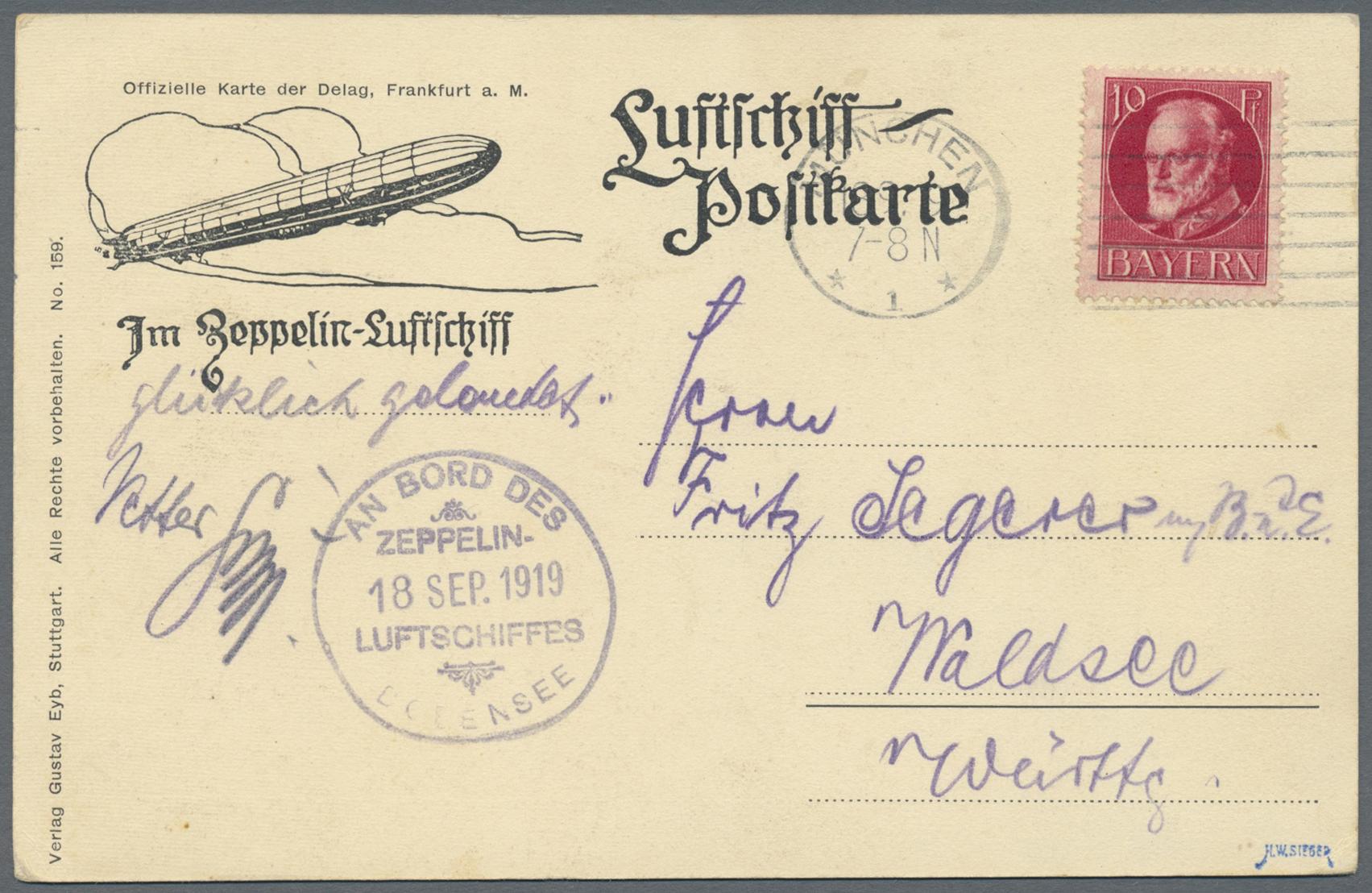 Lot 10639 - zeppelinpost deutschland  -  Auktionshaus Christoph Gärtner GmbH & Co. KG Sale #46 Single lots Asia, Thematics, Overseas, Europe …
