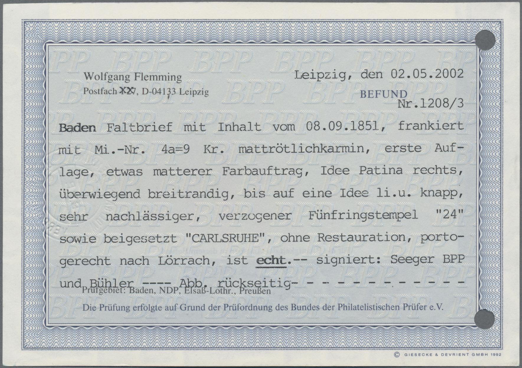 Lot 05005 - Baden - Marken und Briefe  -  Auktionshaus Christoph Gärtner GmbH & Co. KG 51th Auction - Day 3