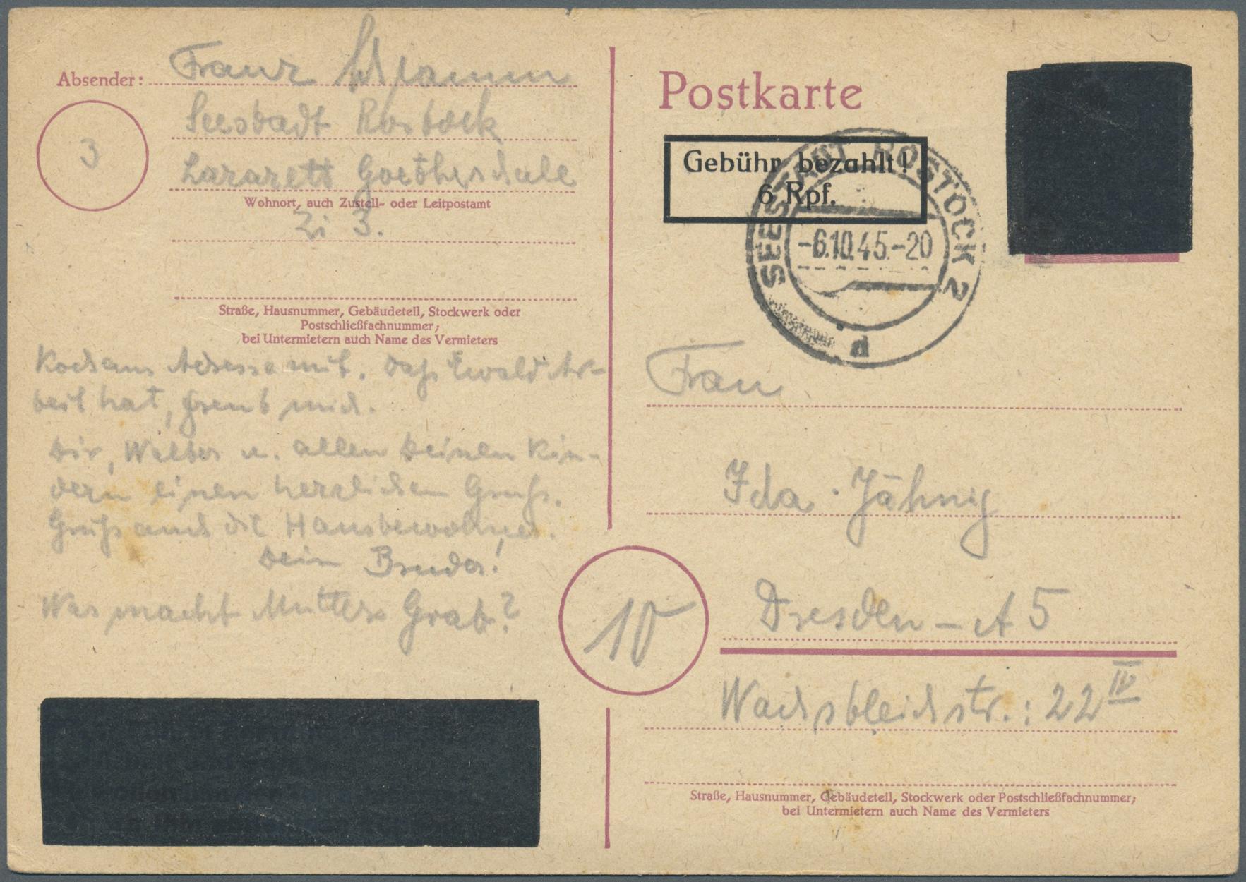 Lot 24039 - Alliierte Besetzung - Behelfsausgaben: Sowjetische Zone  -  Auktionshaus Christoph Gärtner GmbH & Co. KG Sale #44 Germany, Picture Post cards
