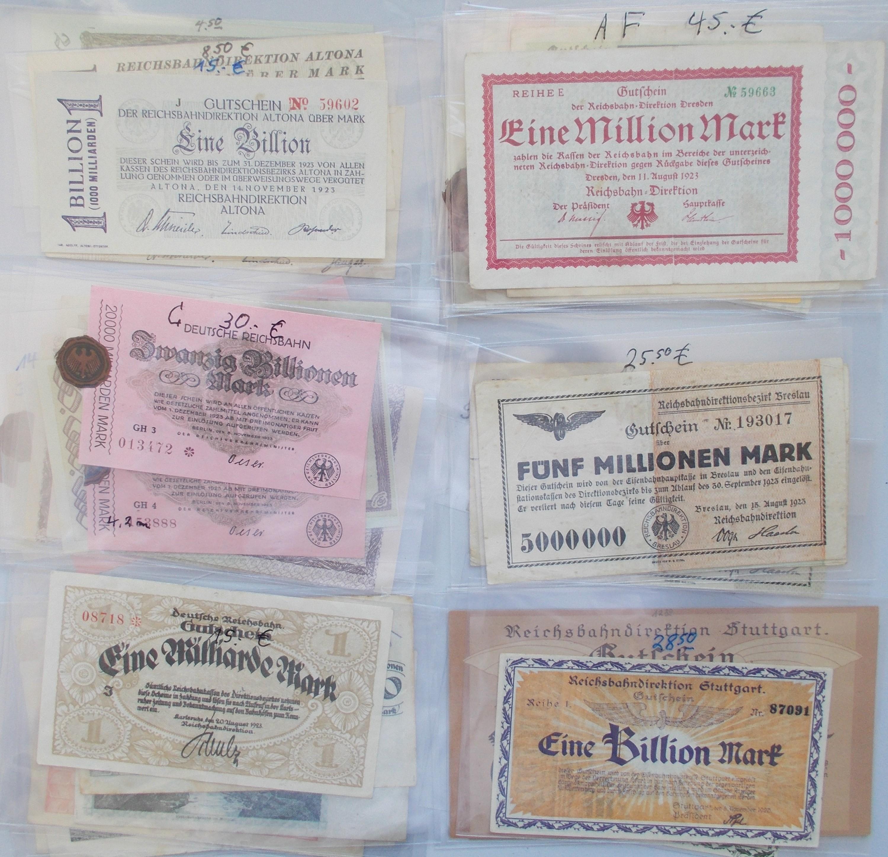 Lot 35310 - Deutschland - Reichsbahn / Reichspost   Banknoten  -  Auktionshaus Christoph Gärtner GmbH & Co. KG Sale #44 Collections Germany