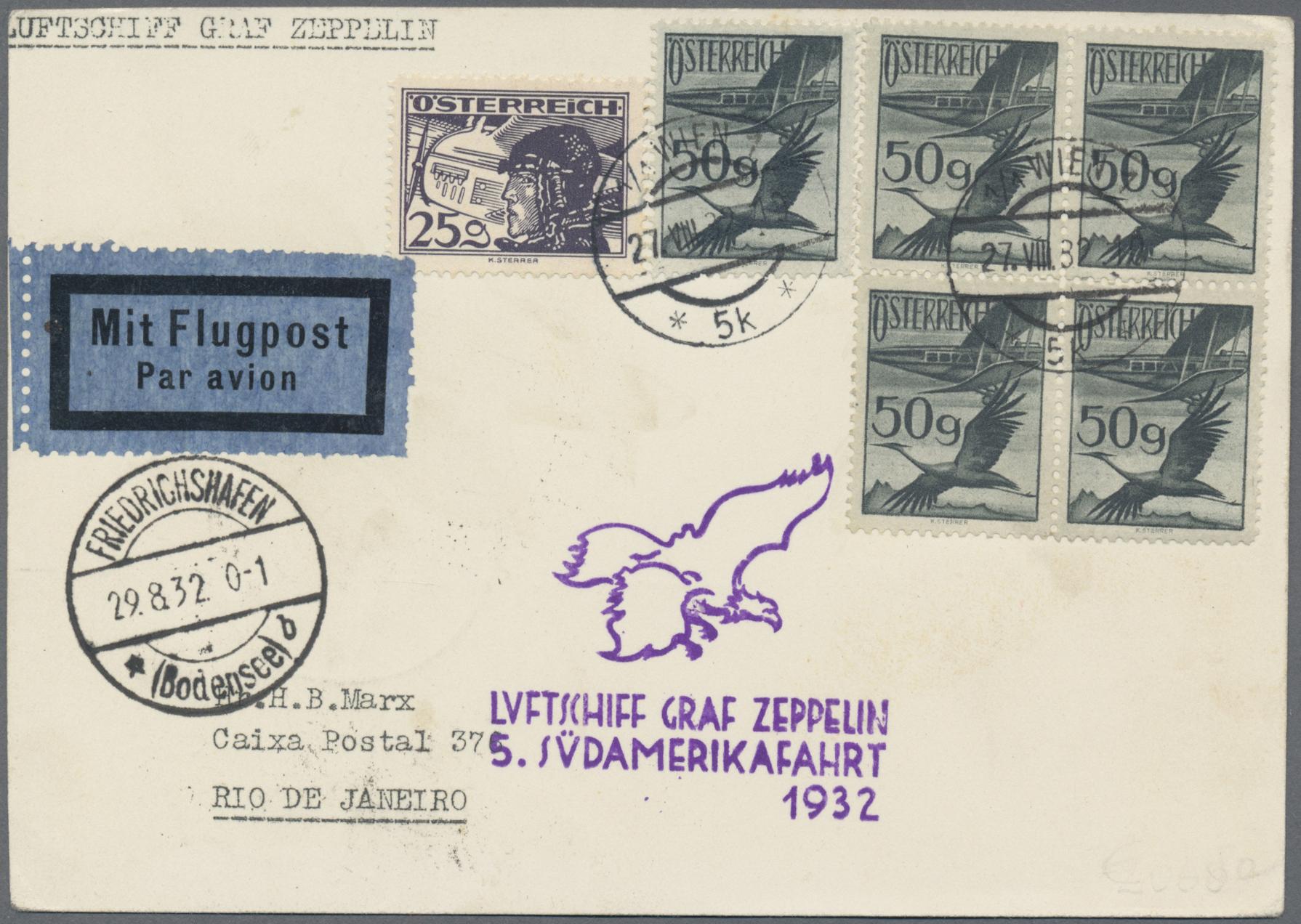 Lot 12636 - Österreich - Zeppelinpost  -  Auktionshaus Christoph Gärtner GmbH & Co. KG Sale #46 Single lots Asia, Thematics, Overseas, Europe …