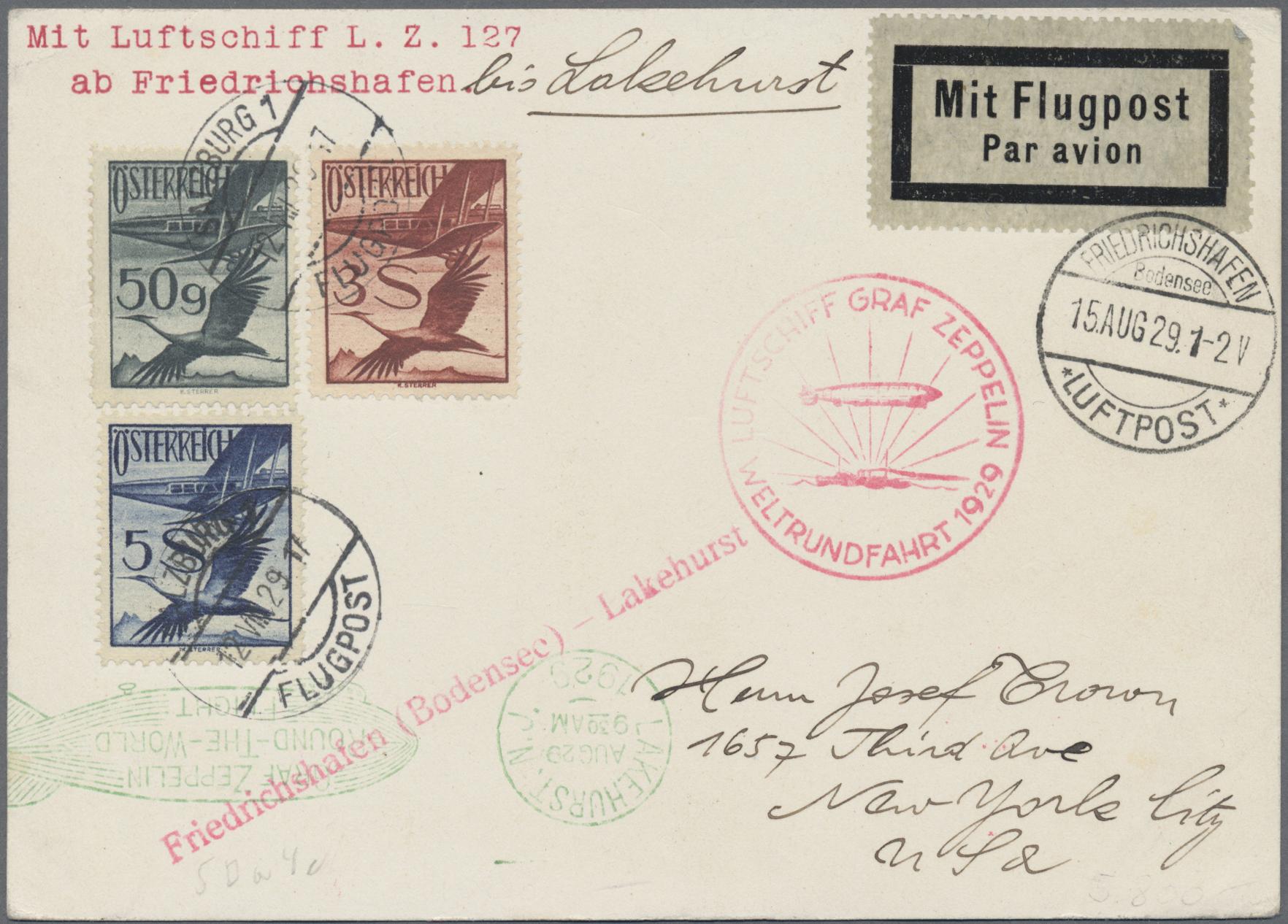 Lot 12641 - Österreich - Zeppelinpost  -  Auktionshaus Christoph Gärtner GmbH & Co. KG Sale #46 Single lots Asia, Thematics, Overseas, Europe …