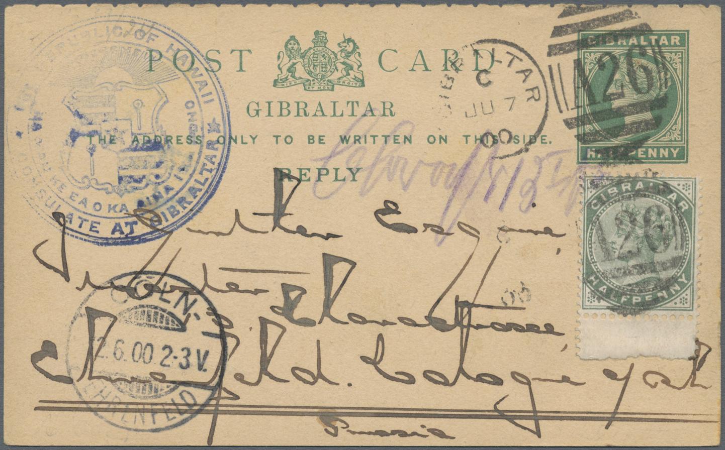 Lot 21815 - Gibraltar - Ganzsachen  -  Auktionshaus Christoph Gärtner GmbH & Co. KG Sale #47 Collections: Overseas, Thematics, Europe